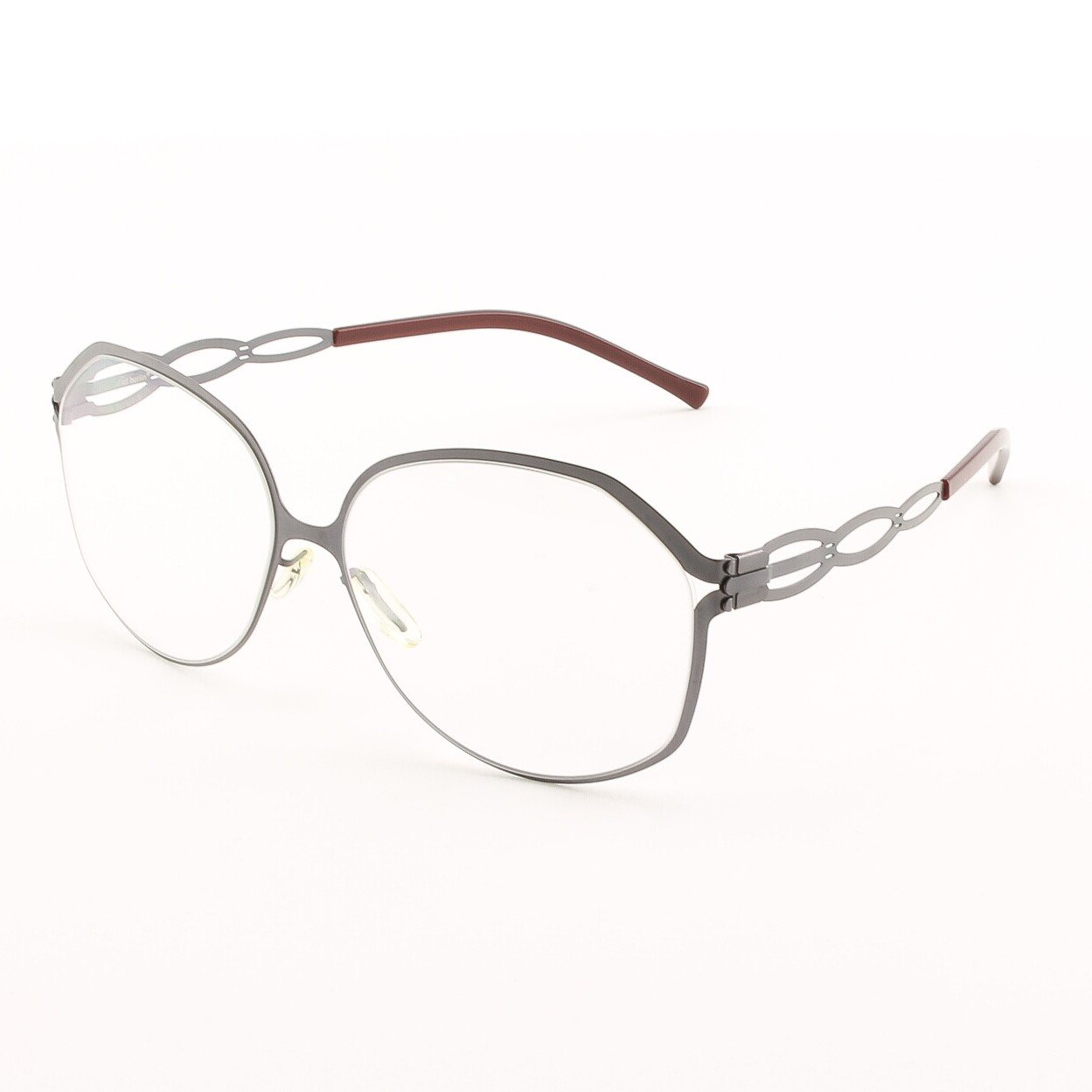 ic! Berlin Dimanche Eyeglasses Col. Ash Grey / Wine with Clear Lenses