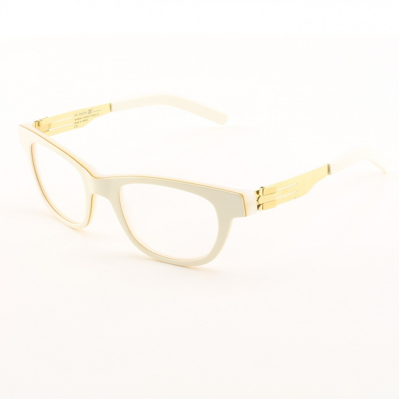 ic! Berlin Claudia S. Eyeglasses Col. Ivory / Gold Trim with Clear Lenses