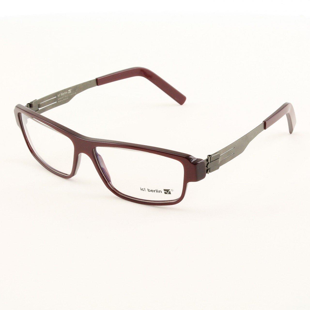 ic! Berlin Haytham Eyeglasses Col. Cherry with Clear Lenses