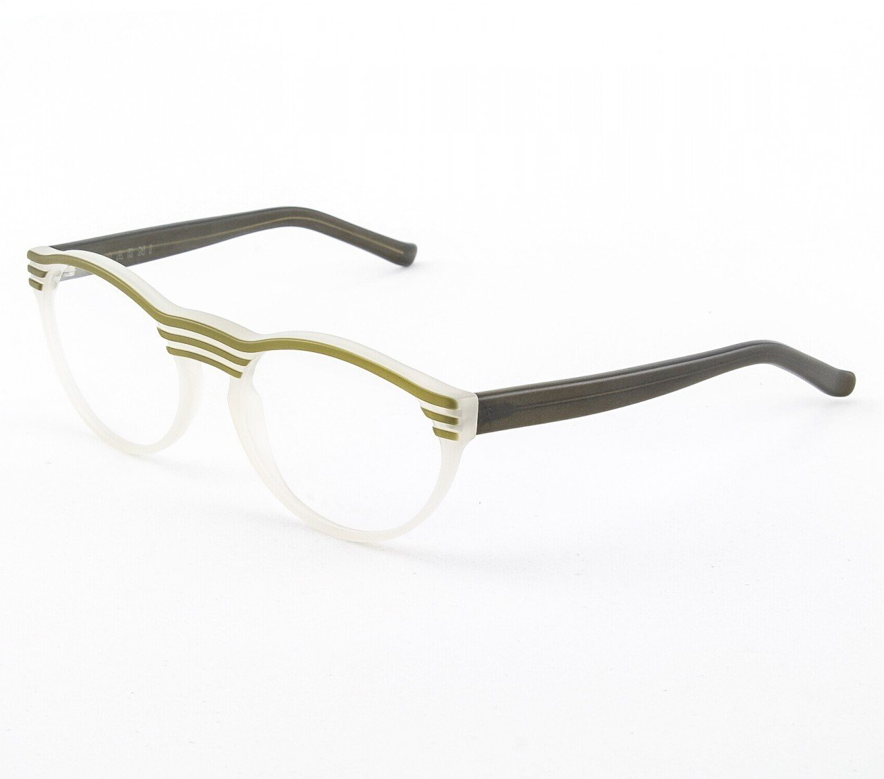 Marni MA688 Eyeglasses Col. 03 Frosted Light Khaki with Green Accents and Clear Lenses