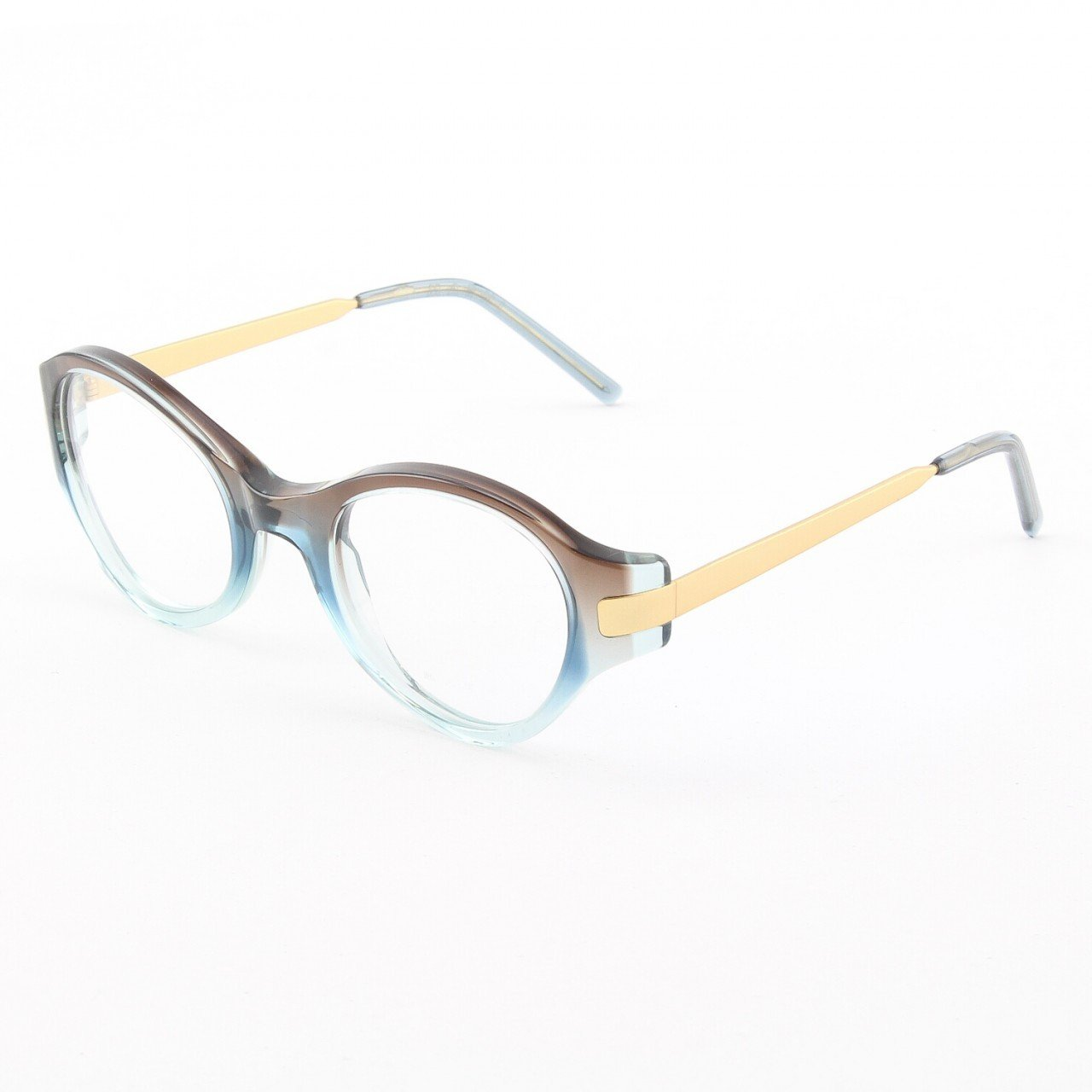 Marni MA679S Eyeglasses Col. 01 Translucent Brown to Teal with Antique Gold Accents and Clear Lenses