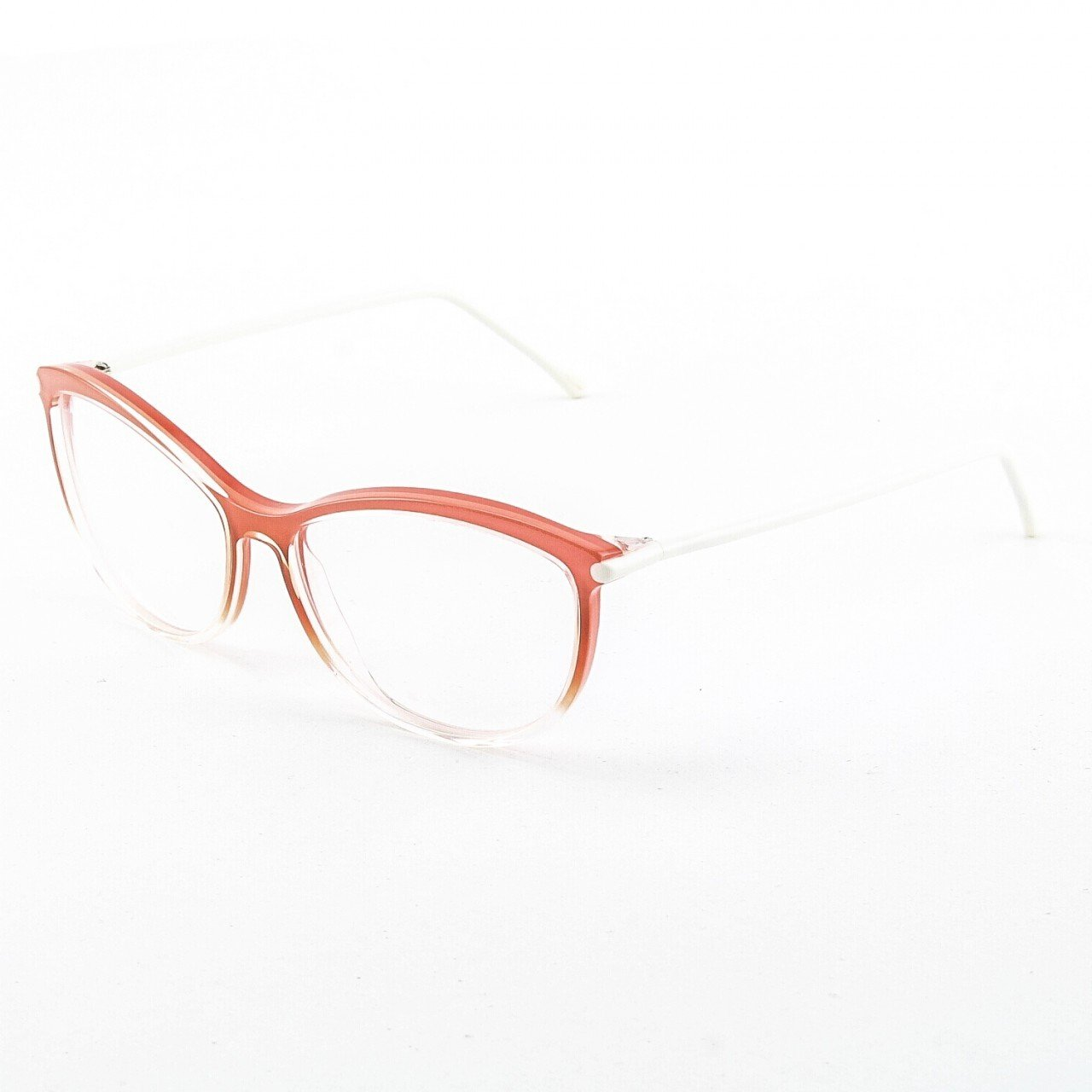 Marni MA677S Eyeglasses Col. 01 Crystal Salmon with White Enamel Temples and Clear Lenses