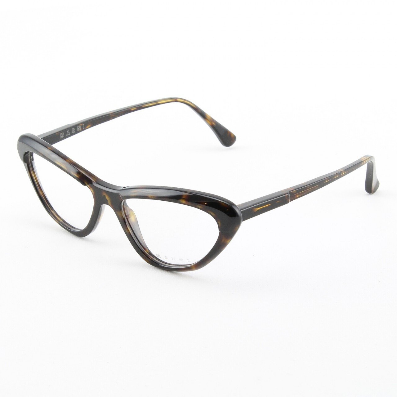 Marni MA675S Eyeglasses Col. 08 Dark Black and Brown Tortoise Frame with Clear Lenses