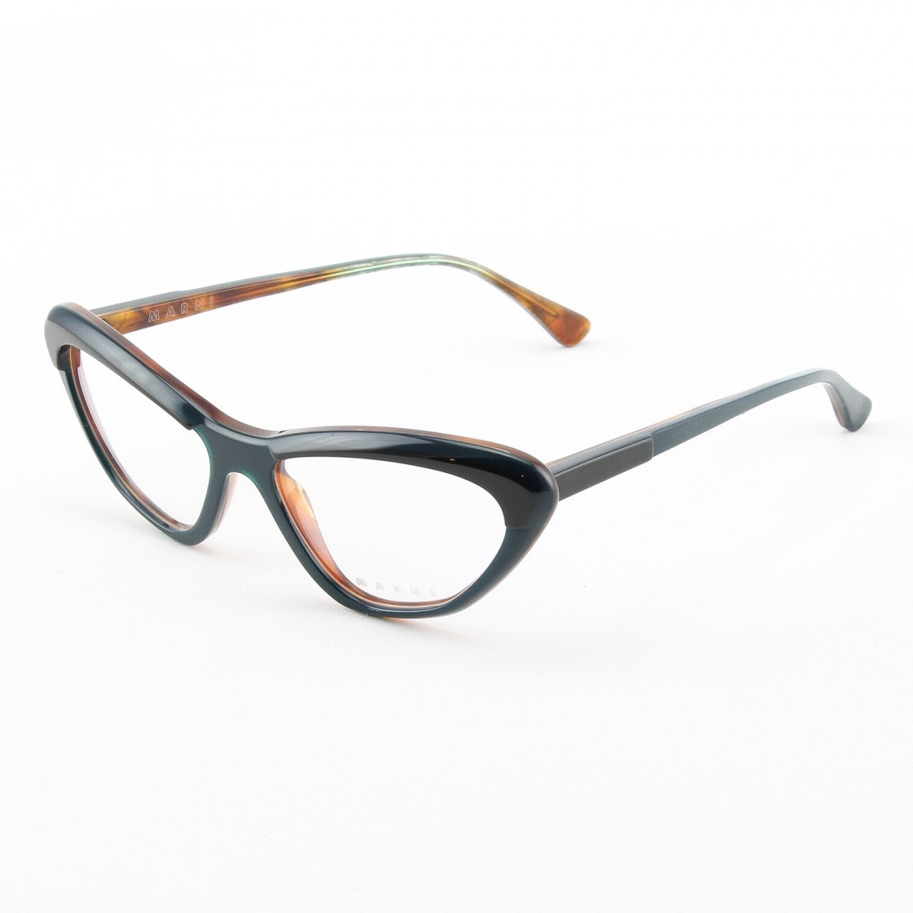 Marni MA675S Eyeglasses Col. 07 Two-tone Black and Teal Frame with Clear Lenses