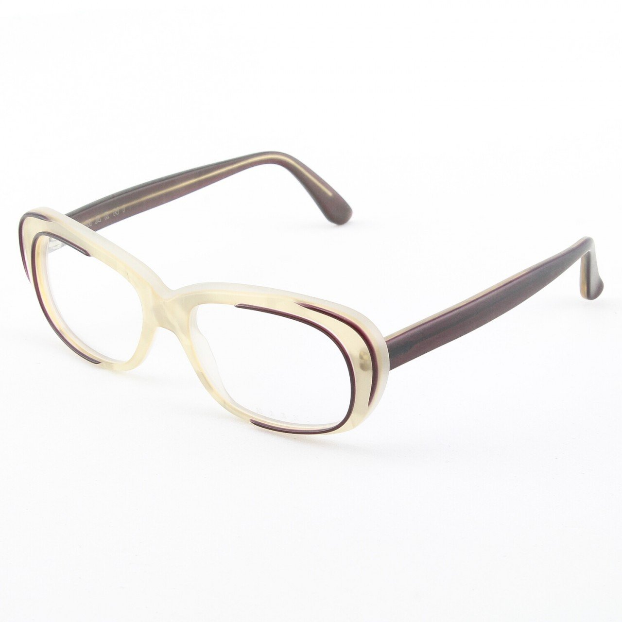 Marni MA670S Eyeglasses Col. 03 Frosted Cream with Deep Burgundy Accents and Clear Lenses