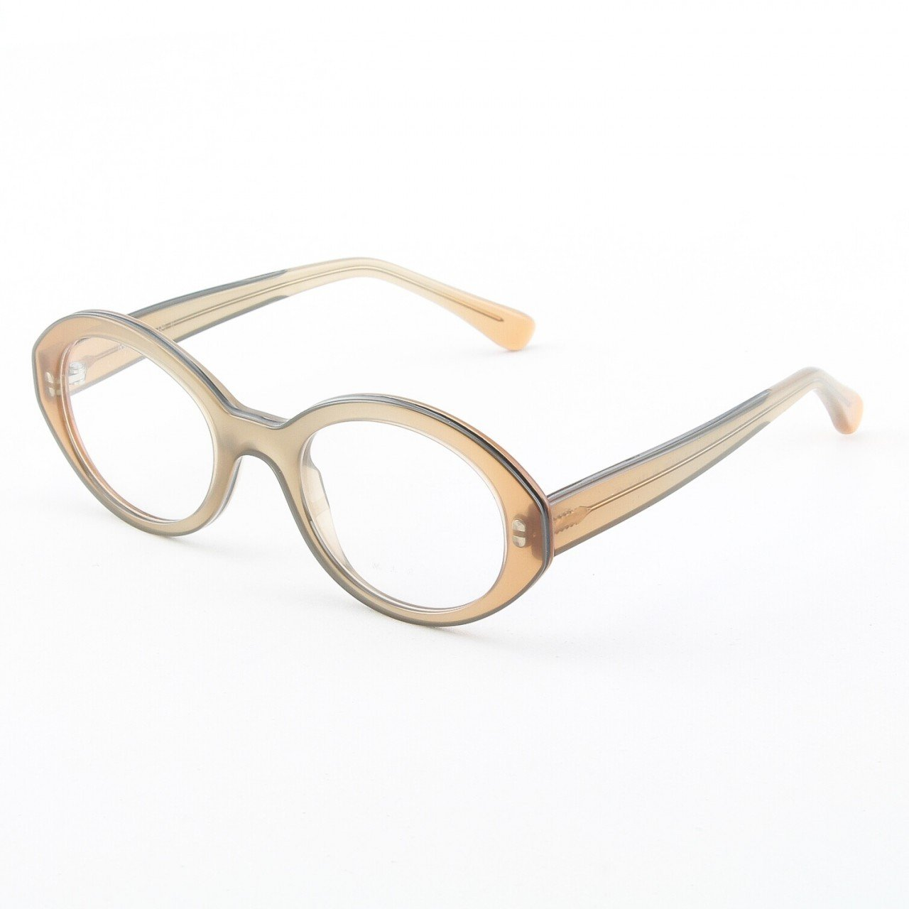 Marni MA651S Eyeglasses Col. 13 Light Brown Crystal with Gold Stud Accents and Clear Lenses