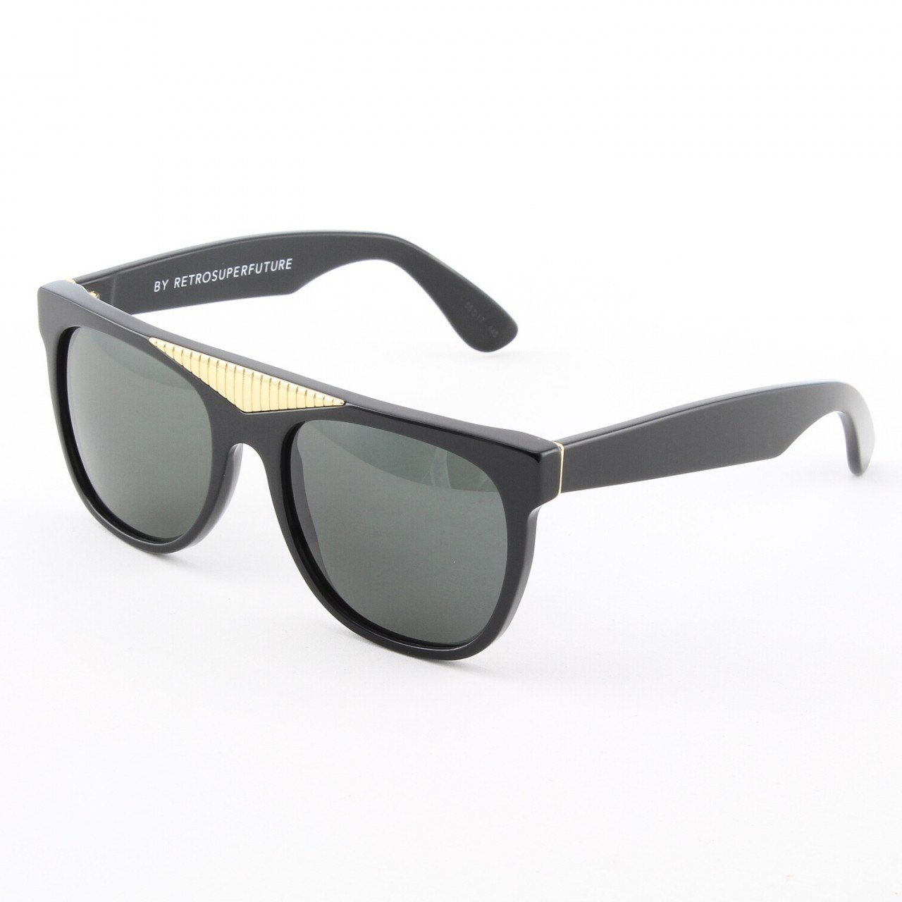 Super Classic 034/3T Sunglasses Black Gold with Black Zeiss Lenses by RETROSUPERFUTURE