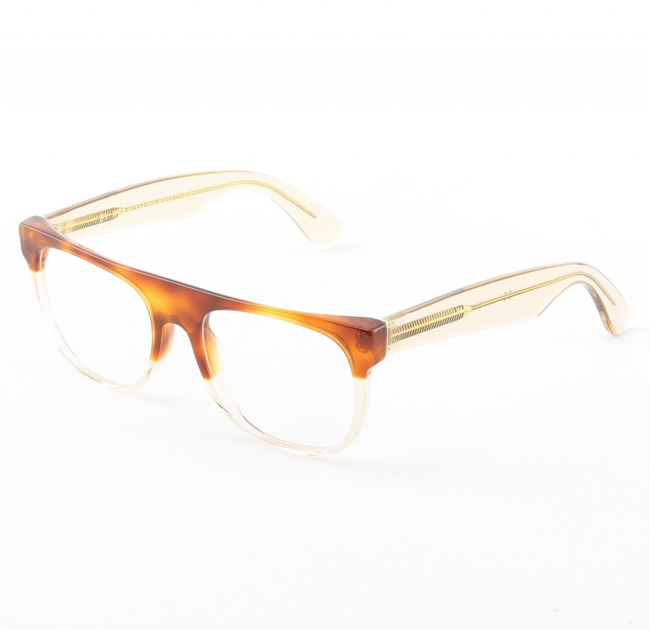 Super Flat Top 963/0T Eyeglasses Brown Havana Crystal with Brown Zeiss Lenses by RETROSUPERFUTURE