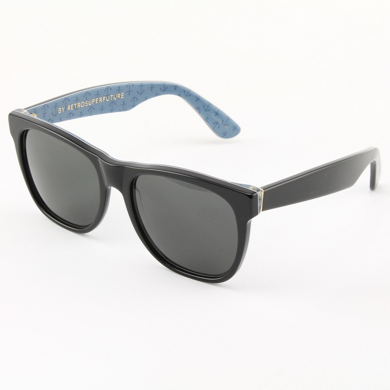 Super Classic 512/3T Sunglasses Black and Blue with Blue Zeiss Lenses by RETROSUPERFUTURE