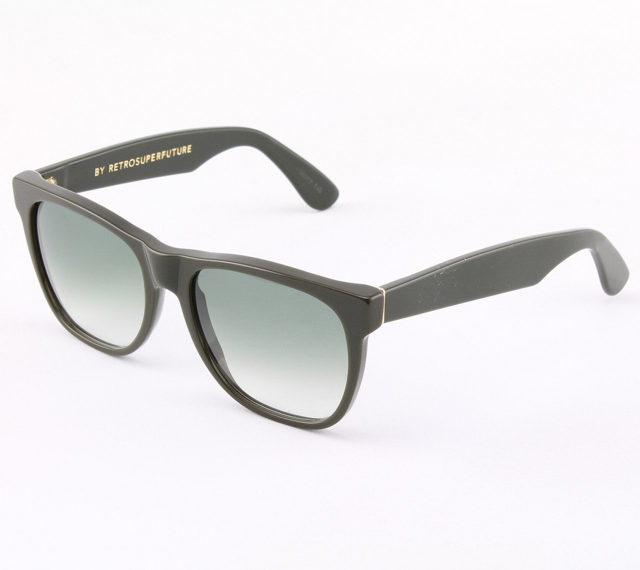 Super Classic 761/2T Sunglasses Olive Green with Green Gradient Zeiss Lenses by RETROSUPERFUTURE
