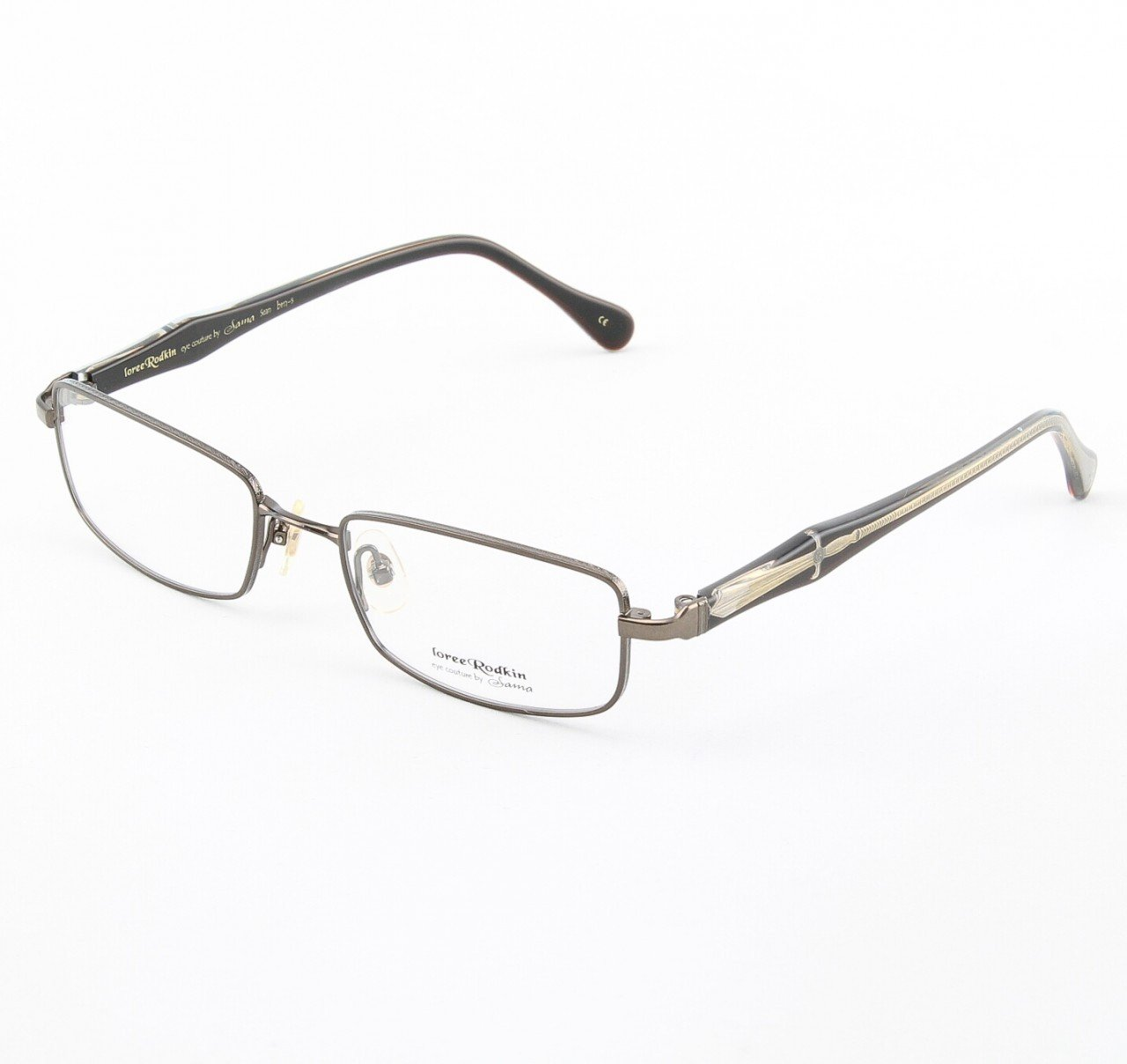 Loree Rodkin Sean Eyeglasses by Sama Col. Brown with Clear Lenses and Decorative Temple Core