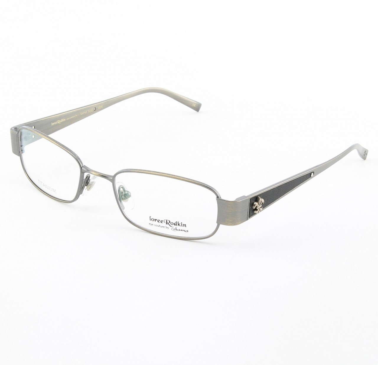 Loree Rodkin Rod Eyeglasses by Sama Col. Slate with Clear Lenses, Leather and Sterling Silver