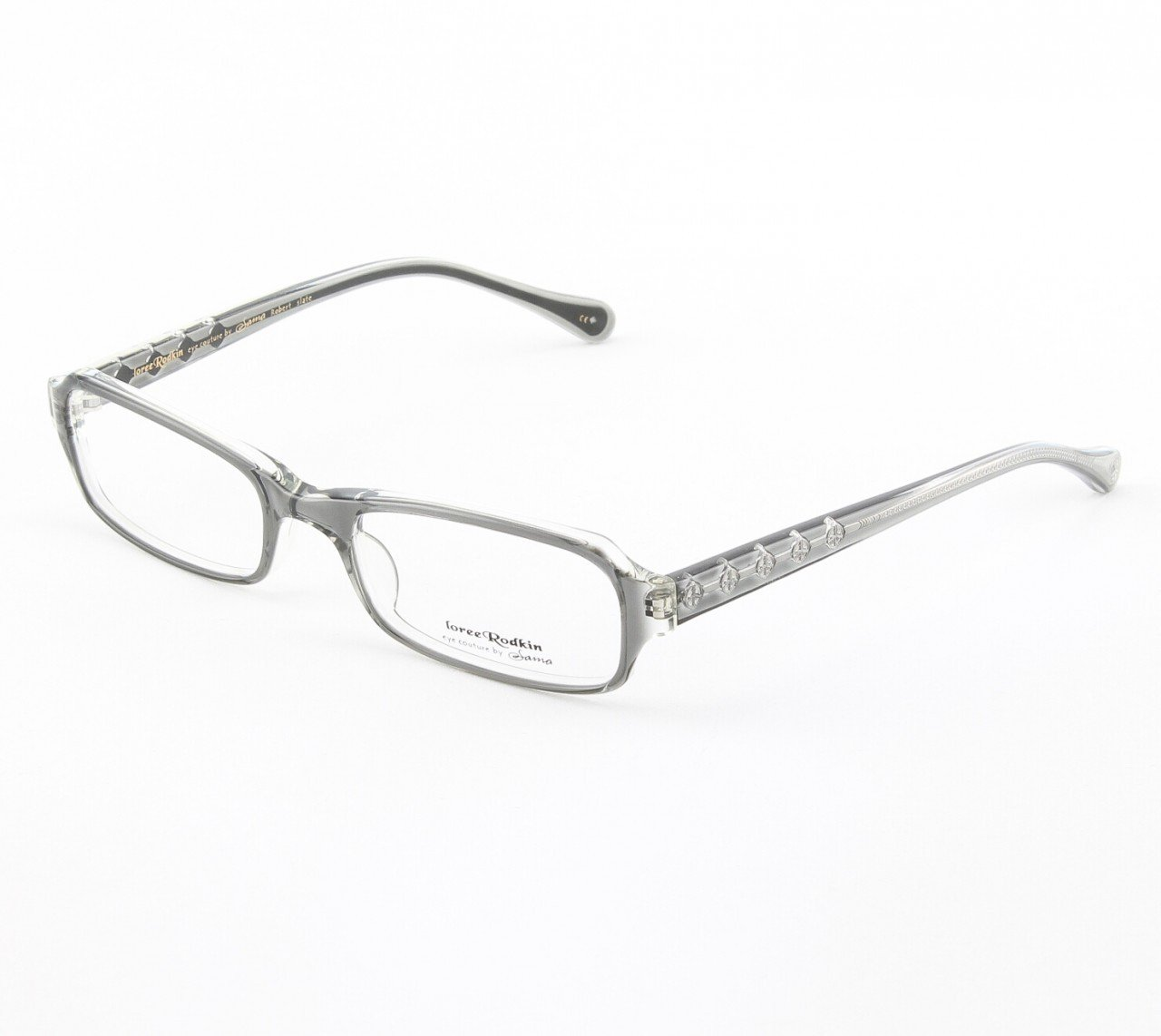 Loree Rodkin Robert Eyeglasses by Sama Col. Slate with Clear Lenses and Decorative Temple Core