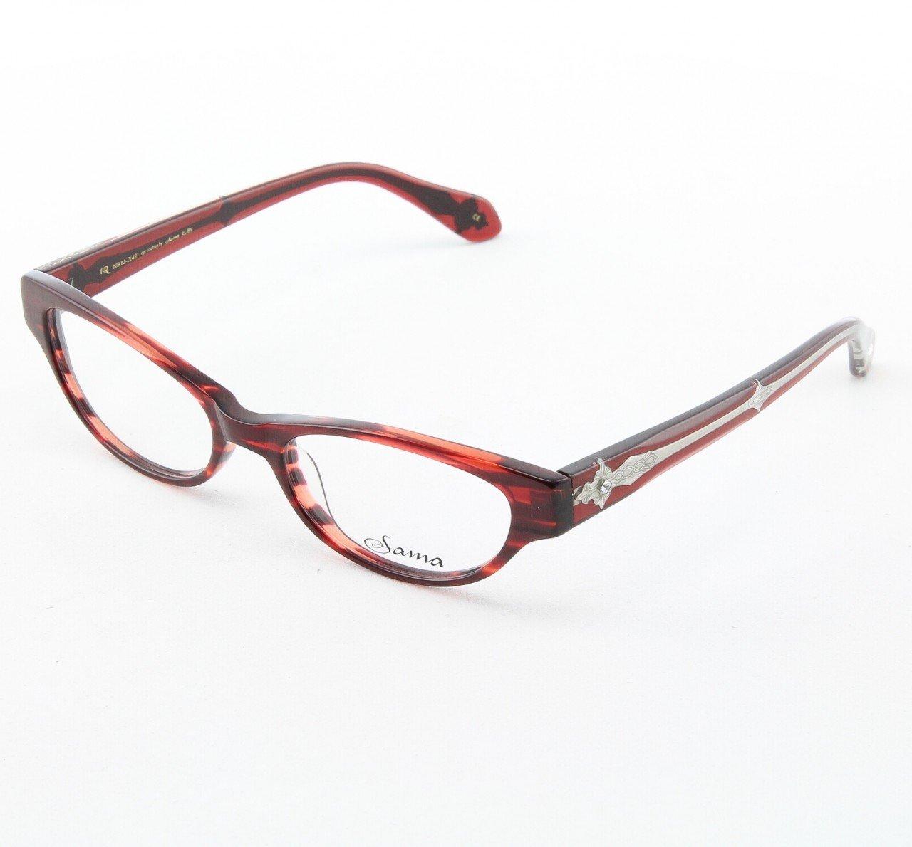 Loree Rodkin Nikki Eyeglasses Ruby w/ Clear Lenses, Swarovski Crystals & Decorative Temple Core
