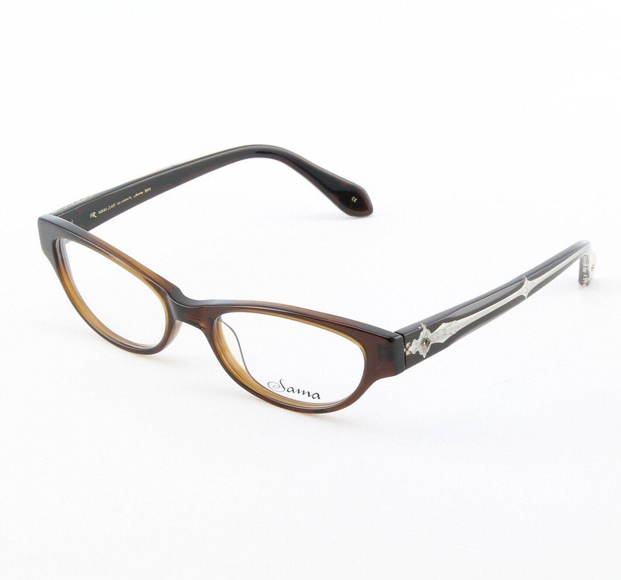 Loree Rodkin Nikki Eyeglasses Brown w/ Clear Lenses, Swarovski Crystals and Decorative Temple Core