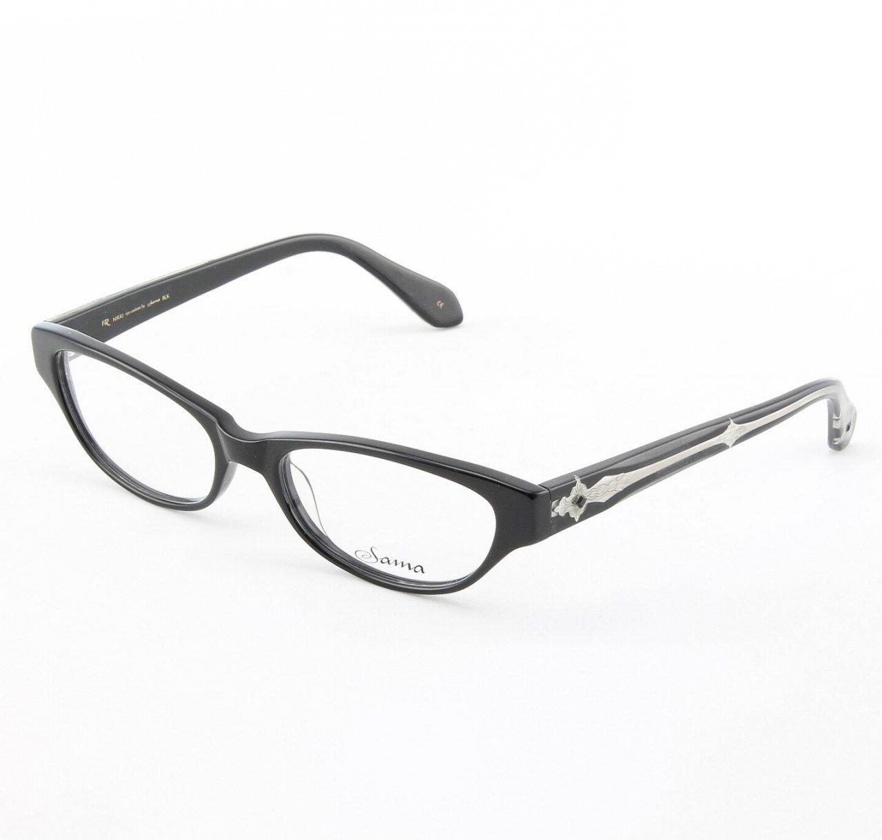 Loree Rodkin Nikki Eyeglasses Black w/ Clear Lenses, Swarovski Crystals and Decorative Temple Core