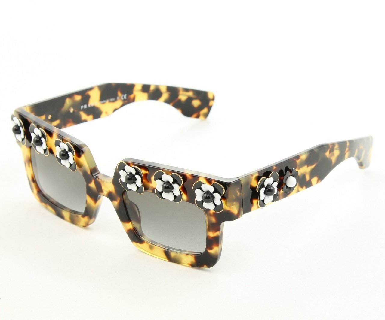 Prada SPR 25PS Sunglasses 7S0-0A7 Brown Havana with Matching Flower Pattern