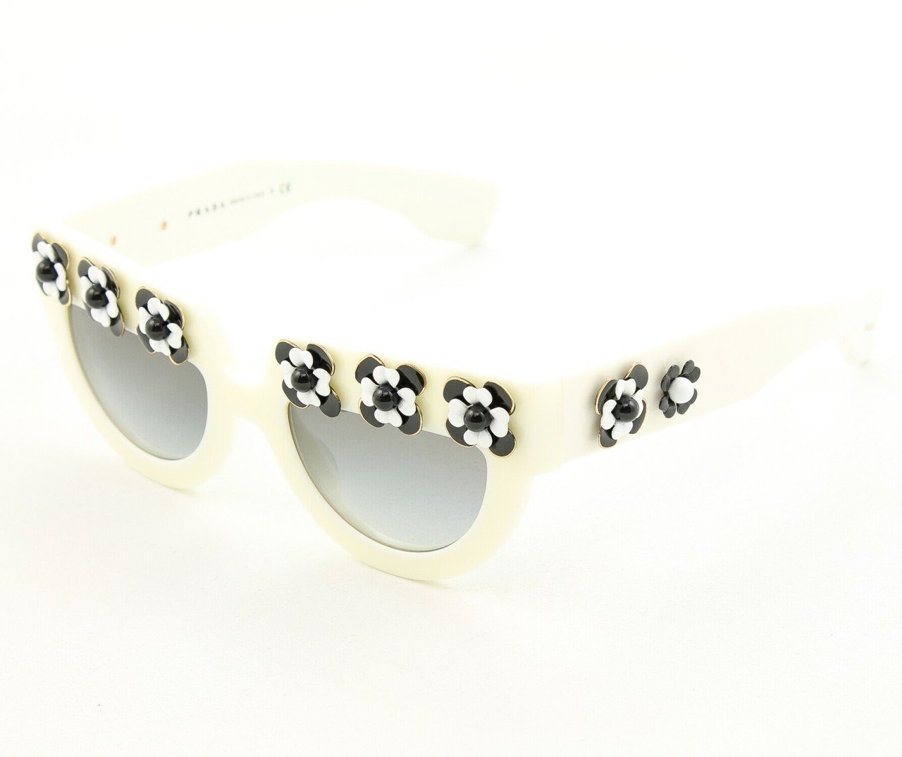 Prada SPR 26PS Sunglasses 7S3-0A7 White with Matching Flower Pattern