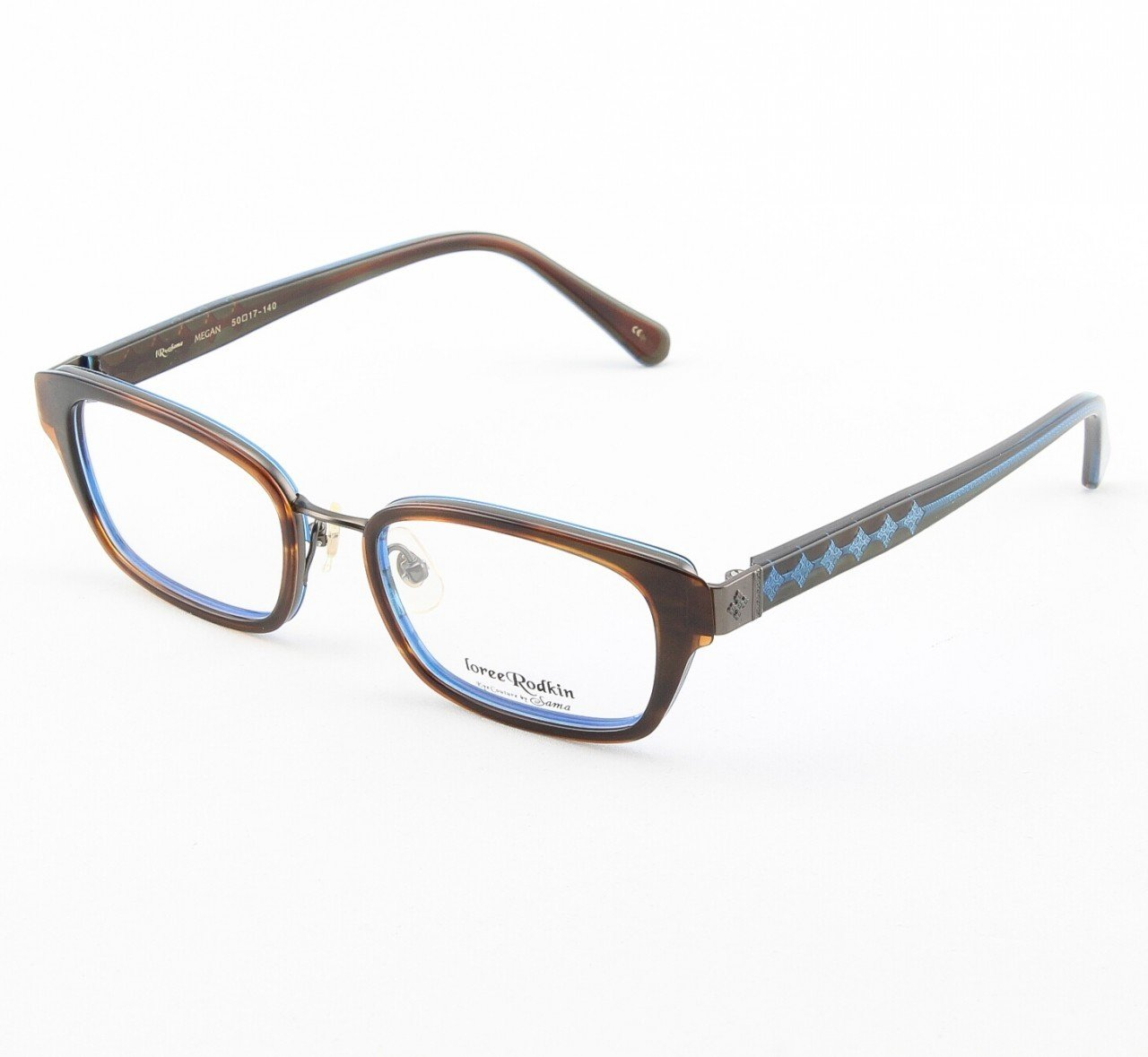 Loree Rodkin Megan Eyeglasses Brown and Blue w/ Clear Lenses, Plastic Inserts Decorative Temple Core