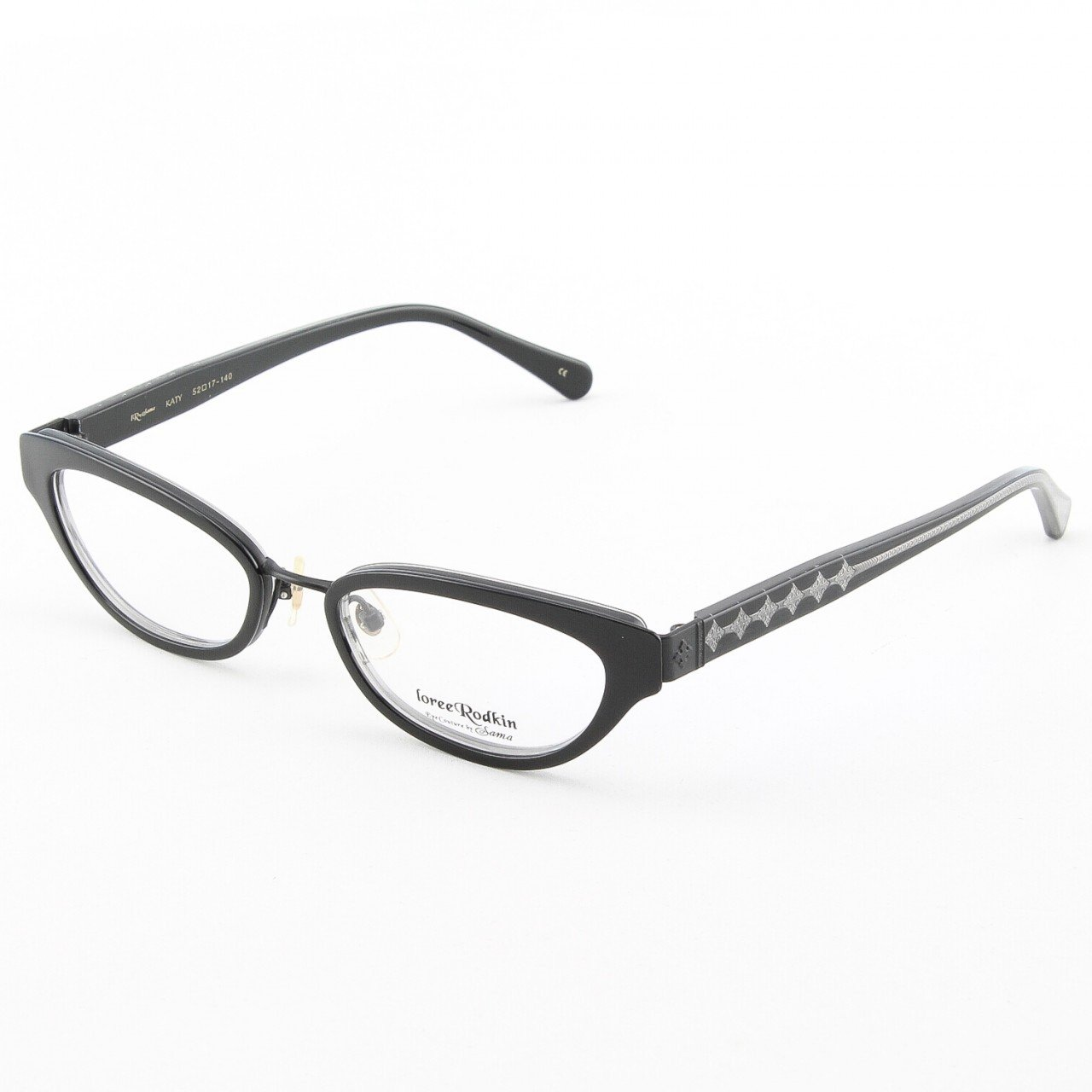 Loree Rodkin Katy Eyeglasses Onyx w/ Clear Lenses, Plastic Inserts and Decorative Temple Core