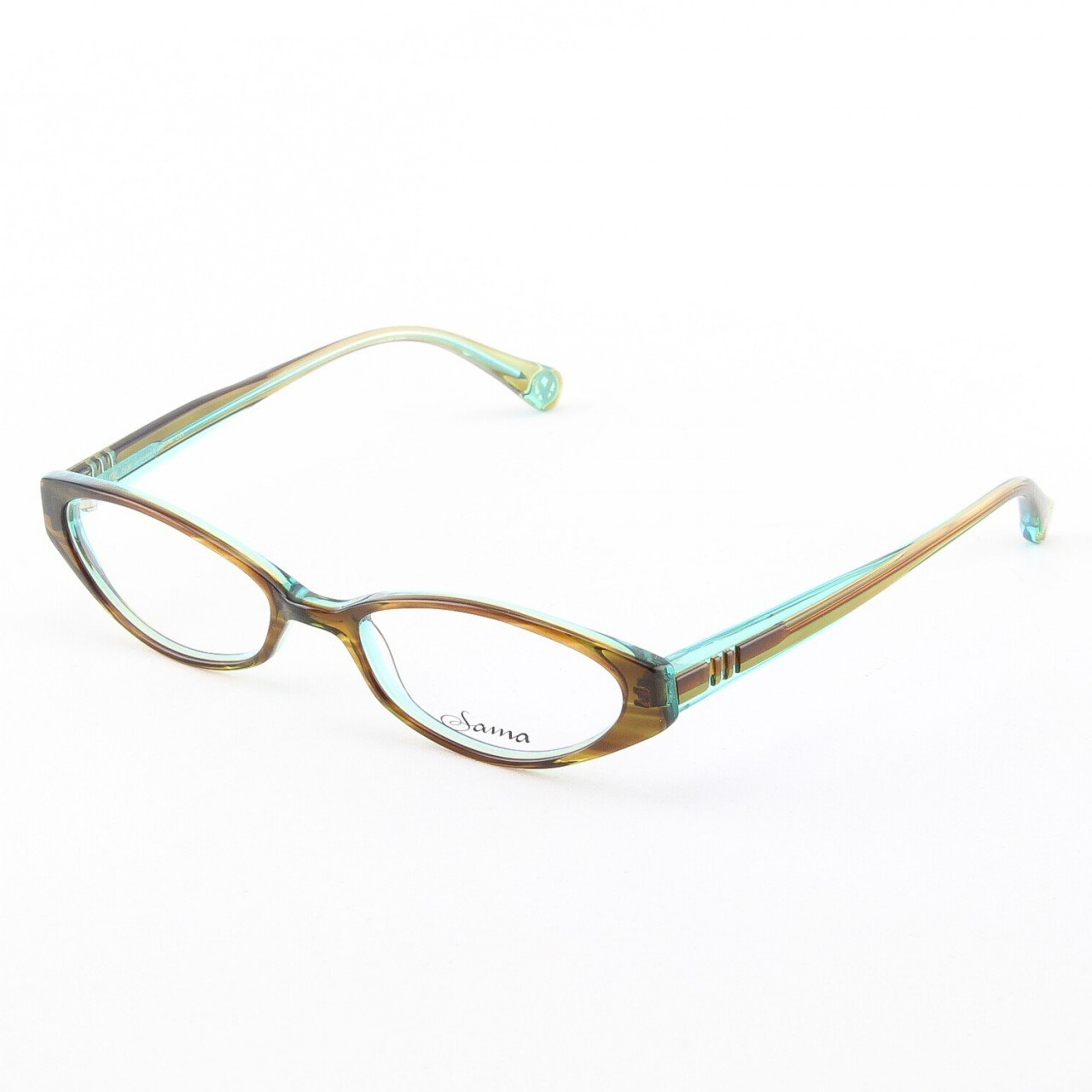 Loree Rodkin Demi Eyeglasses by Sama Col. Olive with Clear Lenses