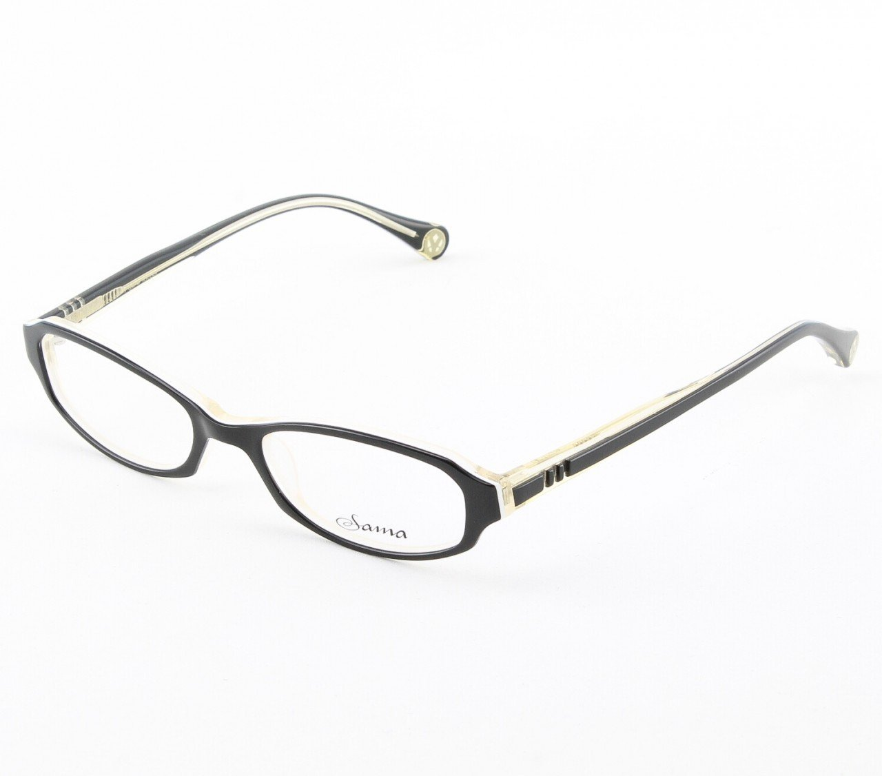 Loree Rodkin Courtney Eyeglasses by Sama Col. Black/Cream with Clear Lenses