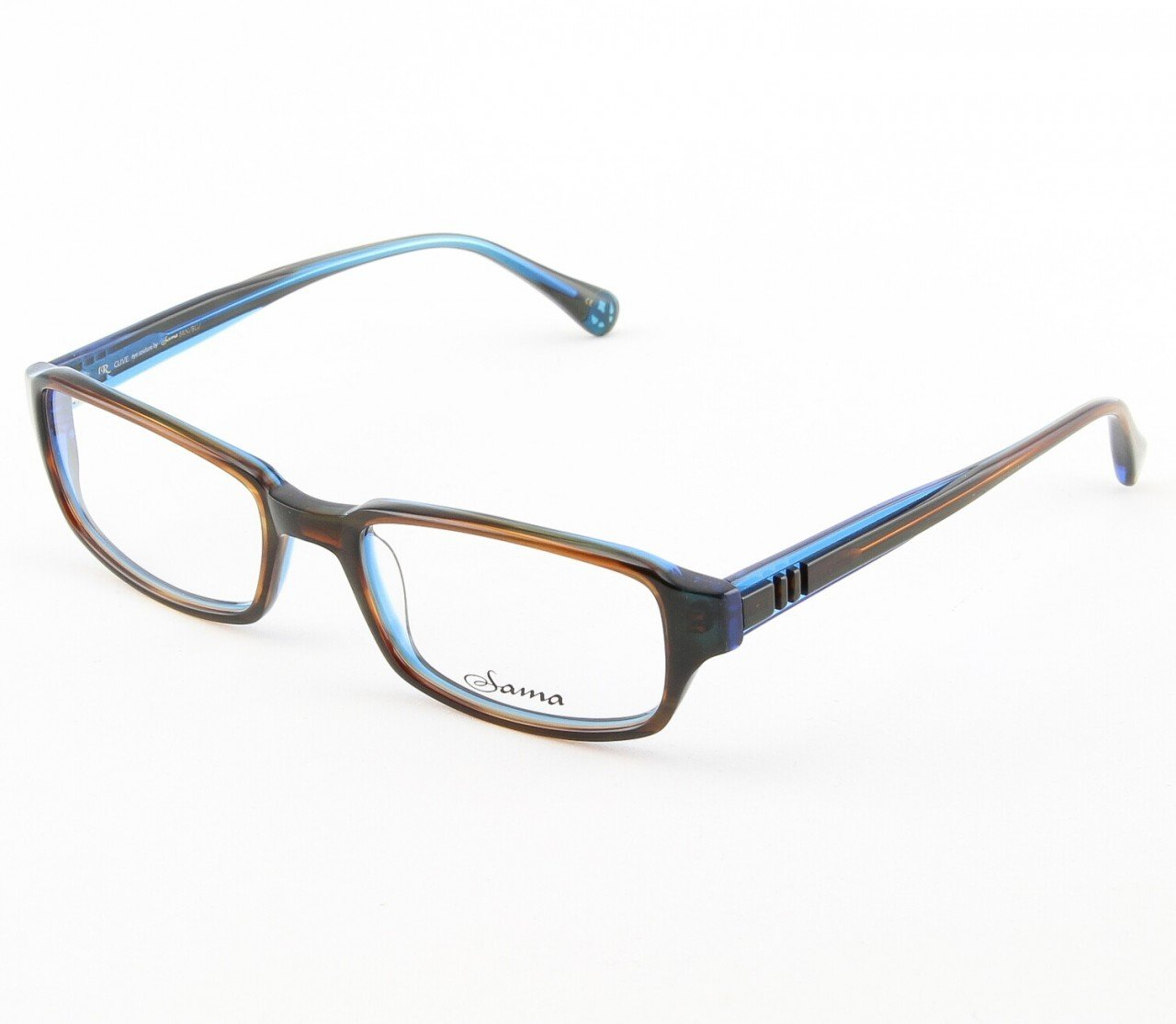 Loree Rodkin Clive Eyeglasses by Sama Col. Brown/Blue with Clear Lenses