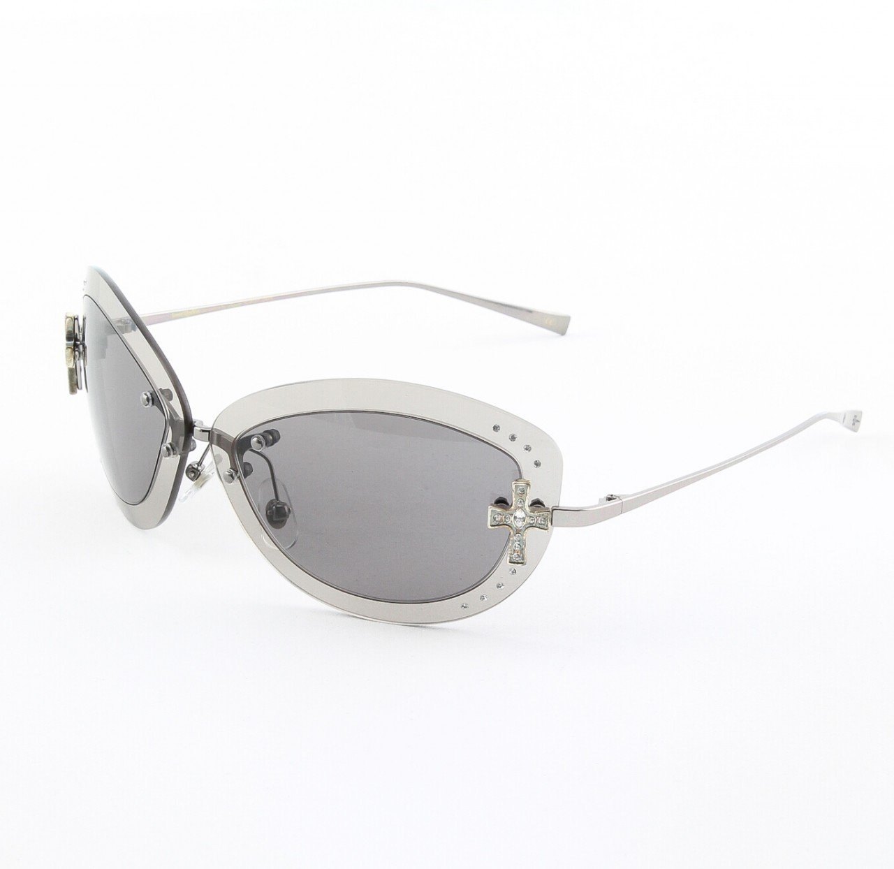 Loree Rodkin Scarlet Sunglasses by Sama Col. Onyx with Gray Lenses and Swarovski Crystals