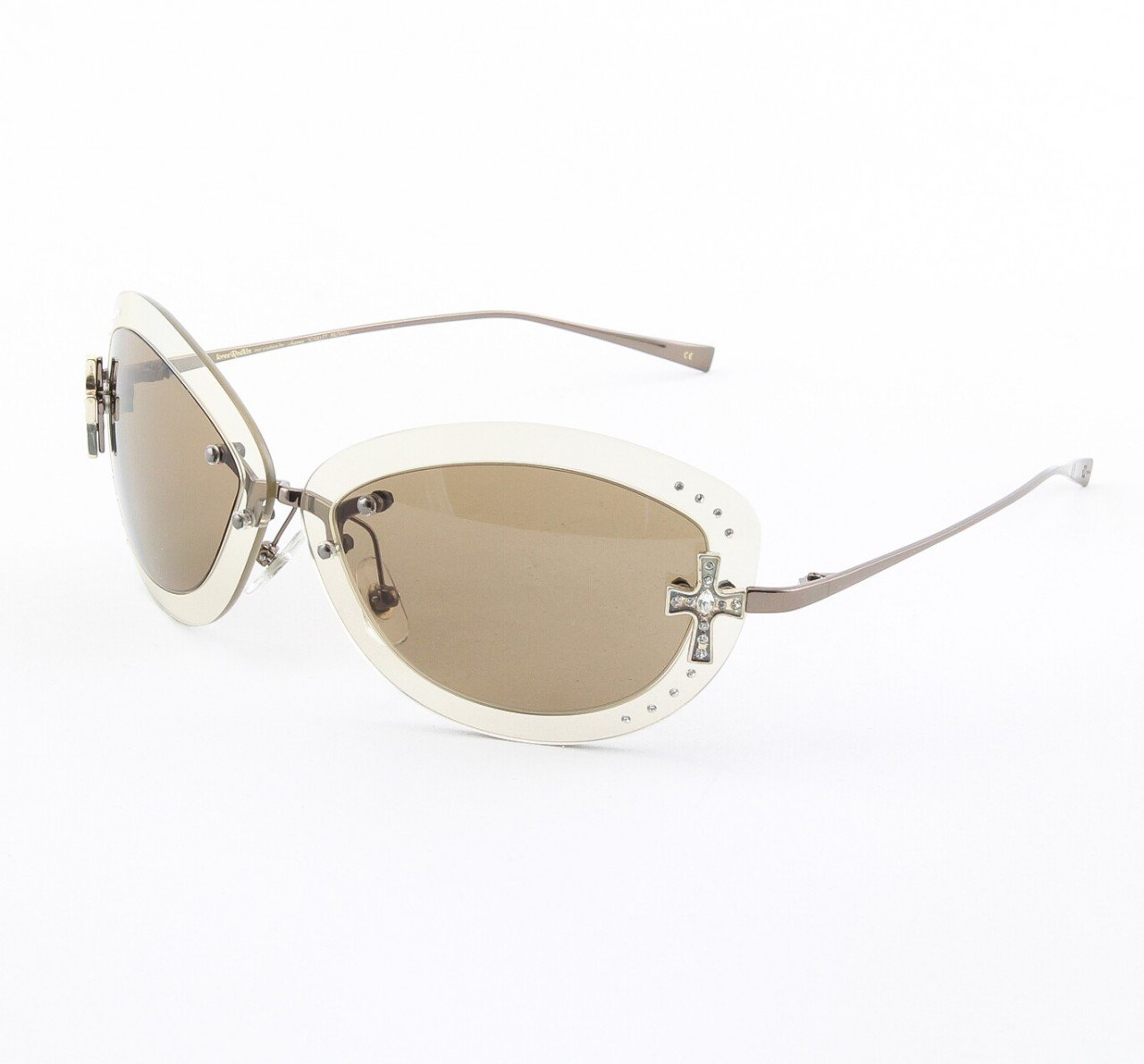 Loree Rodkin Scarlet Sunglasses by Sama Col. Lavender with Brown Lenses and Swarovski Crystals