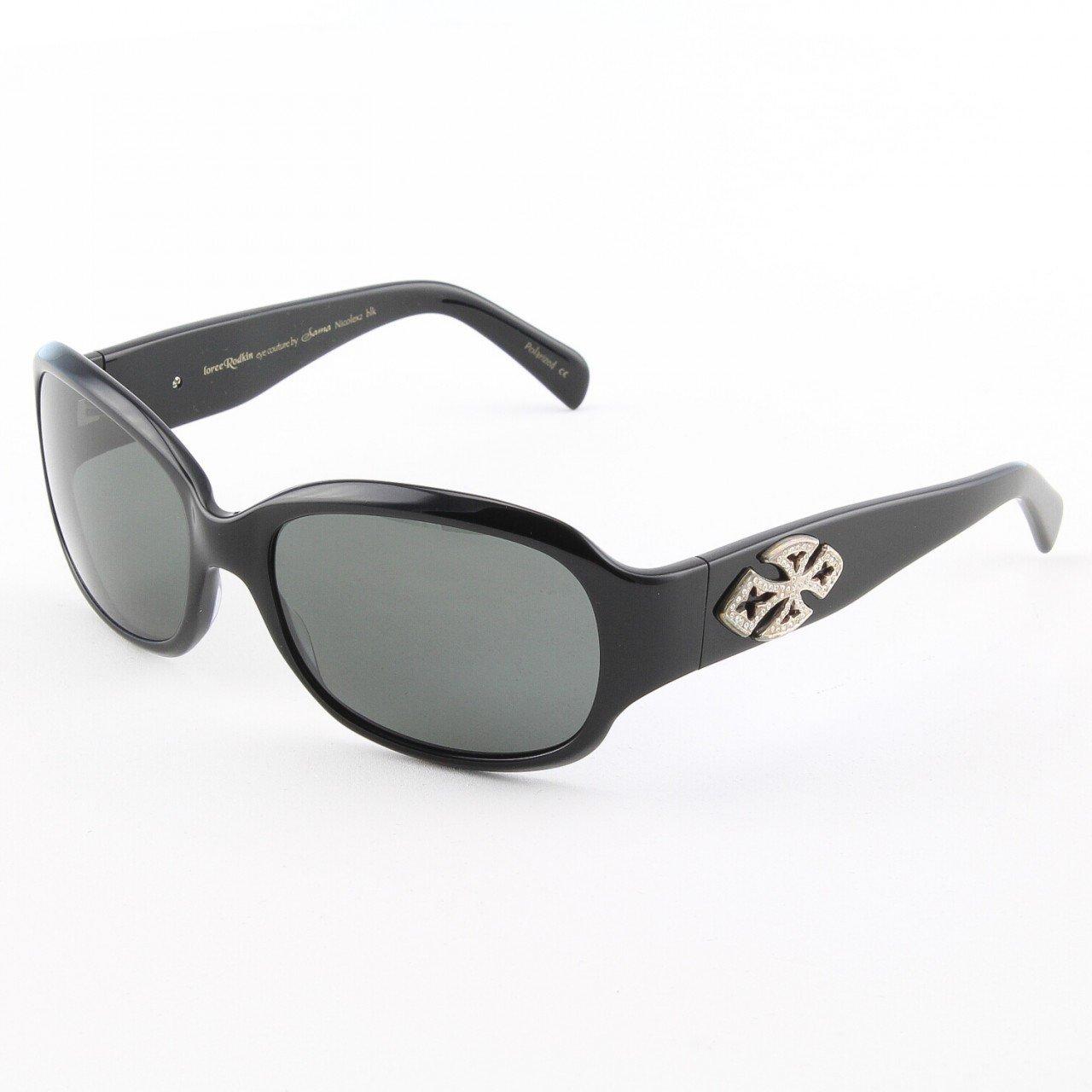 Loree Rodkin Nicole S2 Sunglasses Black w/ Polarized Lenses, Sterling Silver, Swarovski Crystals