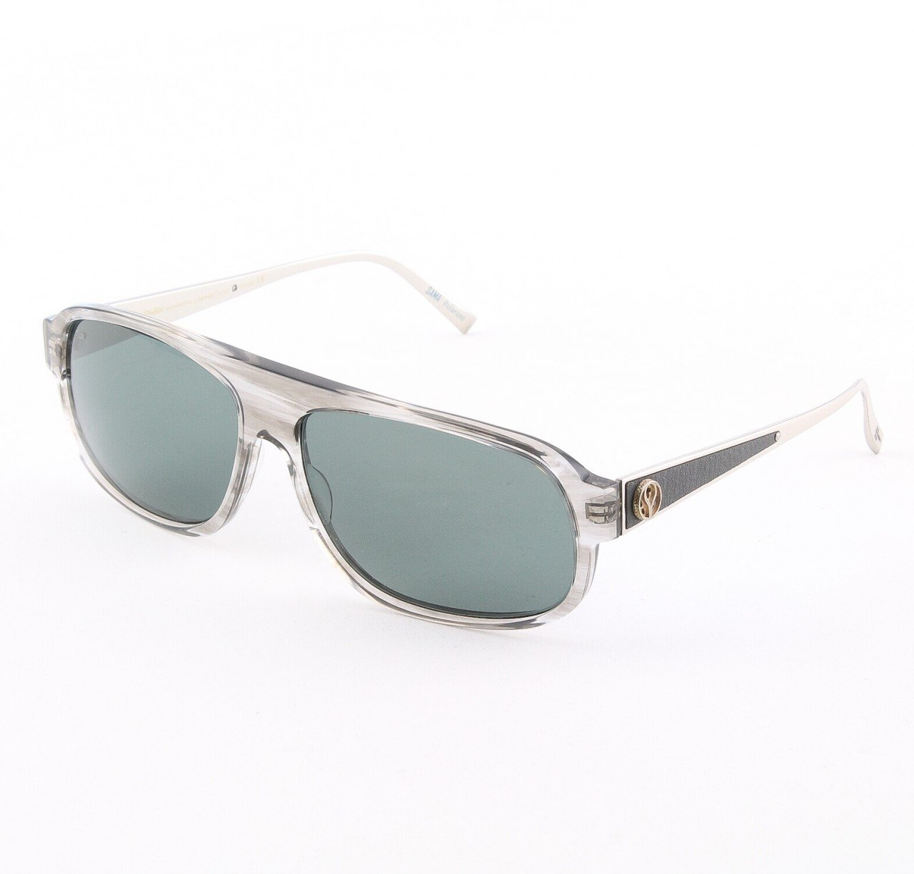 Loree Rodkin Dylan Sunglasses Smoke w/ Polarized Lenses, Leather and Sterling Silver