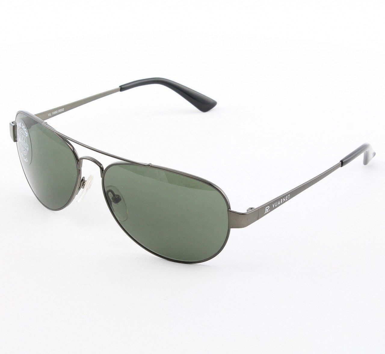 Vuarnet VL 1050 Uni Aviator Sunglasses Col. 0002 1121 Silver with Green Grey PX3000 Lenses