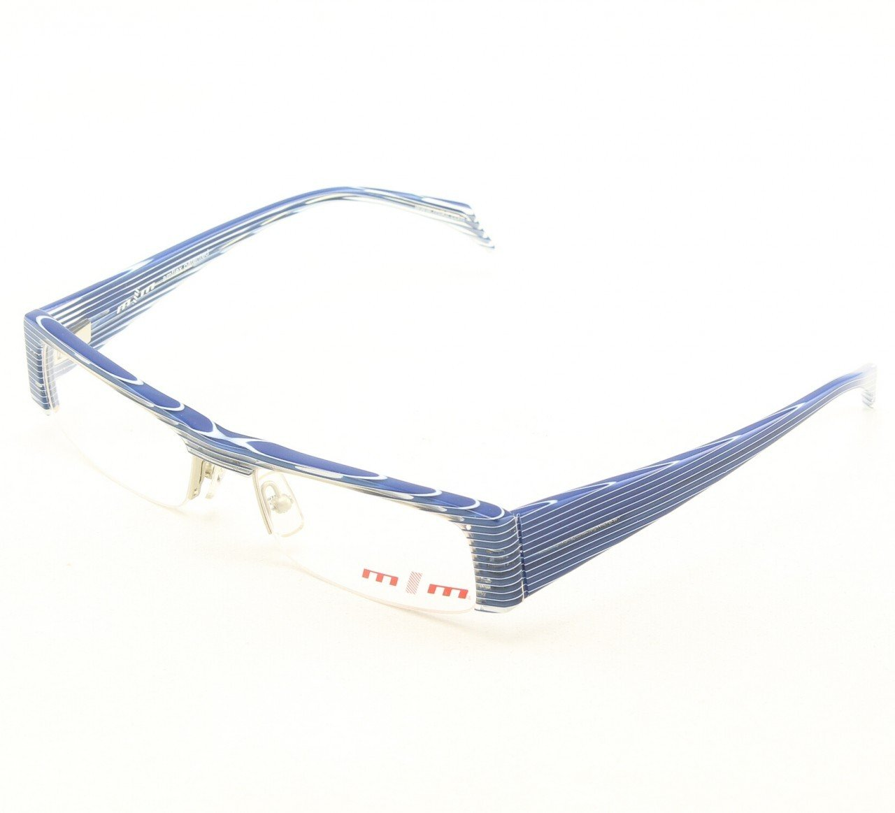 Alain Mikli Eyeglasses 730 02 Blue White Stripes with Clear Lenses