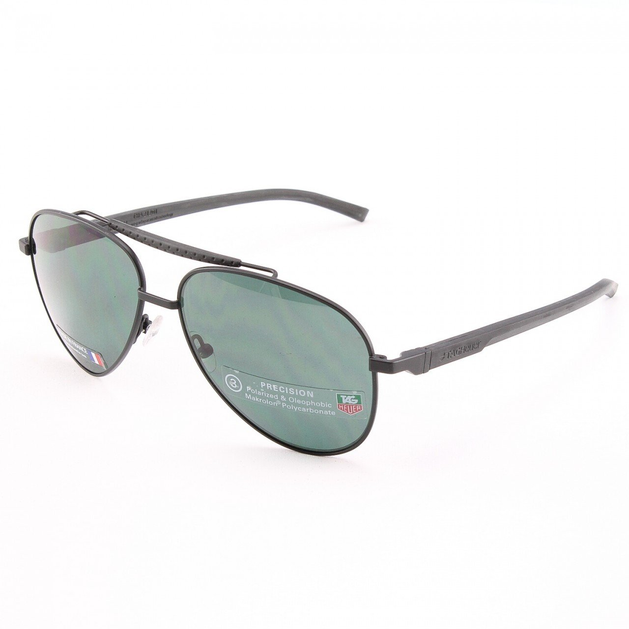 TAG Heuer 881 Men's Sunglasses Col. 311 Black with Green Polarized Lenses