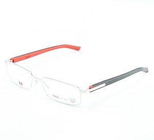 TAG Heuer 8006 Men's Eyeglasses Col. 002 Brushed Black Red with Clear Lenses