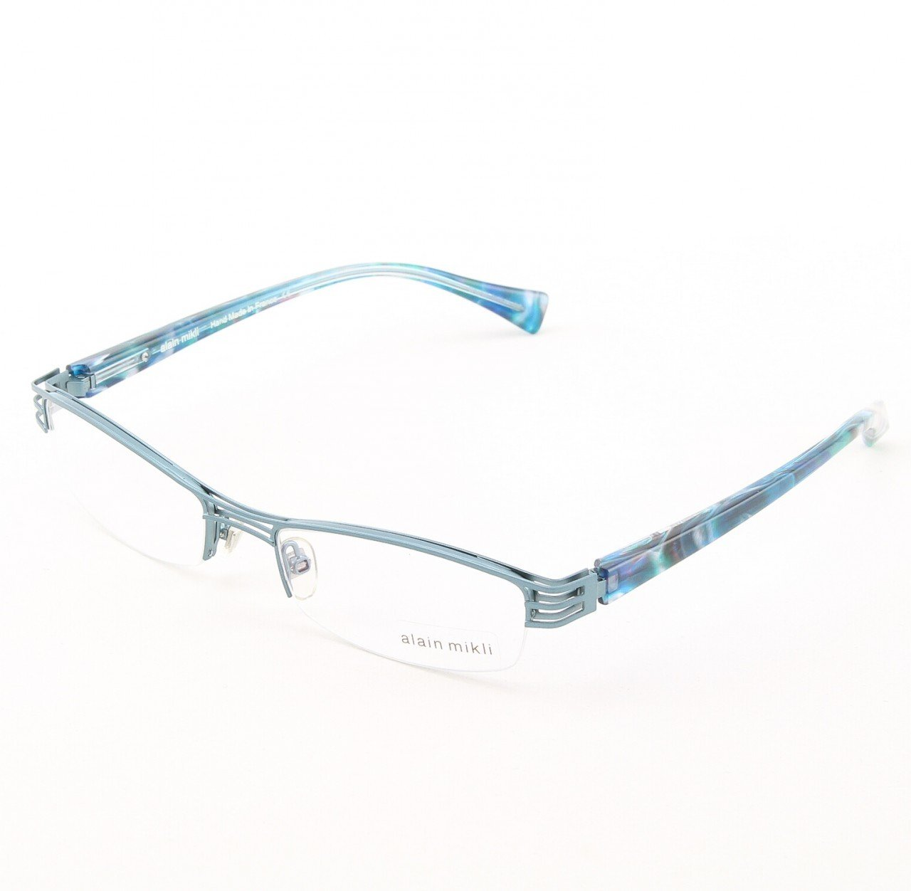 Alain Mikli Eyeglasses AL1106 Col. M00R Matte Charcoal with Pearlized Torqoise Temples