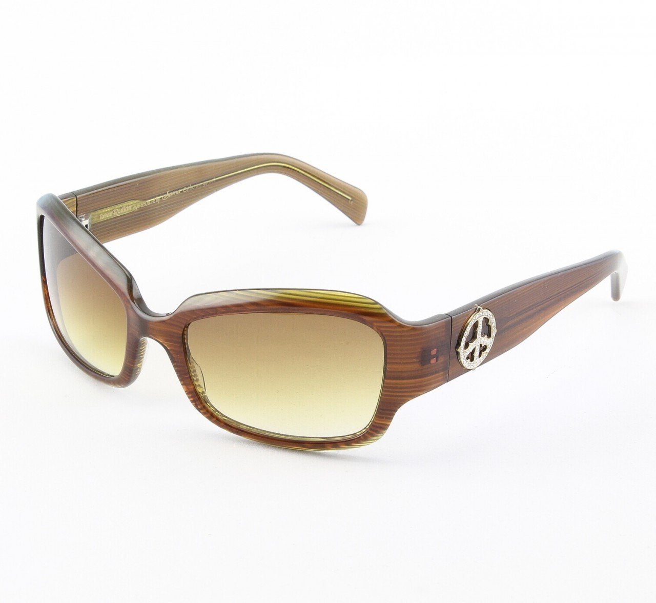 Loree Rodkin Catherine Sunglasses Garnet w/ Amber Lenses, Sterling Silver, Swarovski Crystals