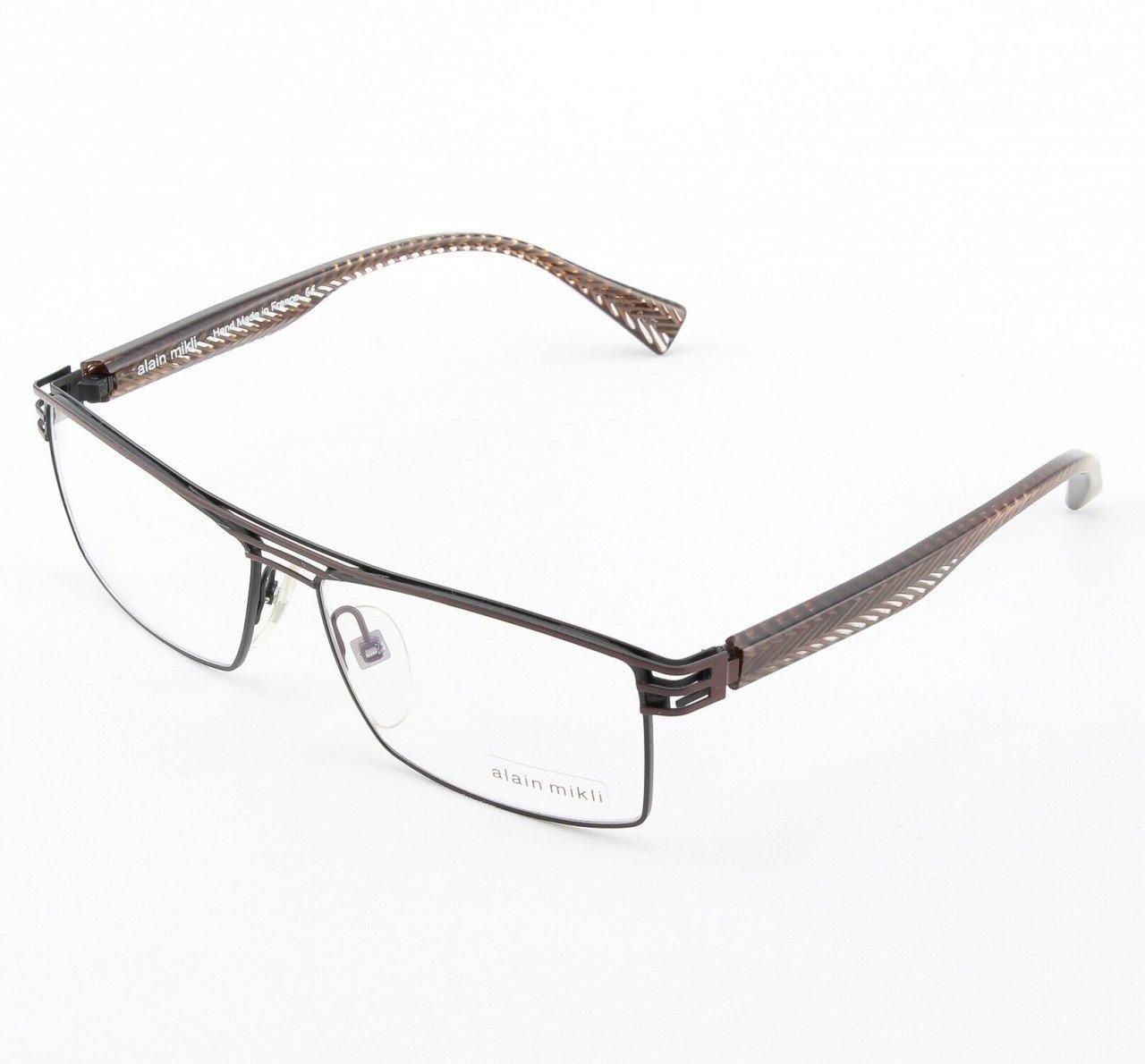 Alain Mikli Eyeglasses AL1104 Col. 2 Chocolate Brown with Herringbone Temples