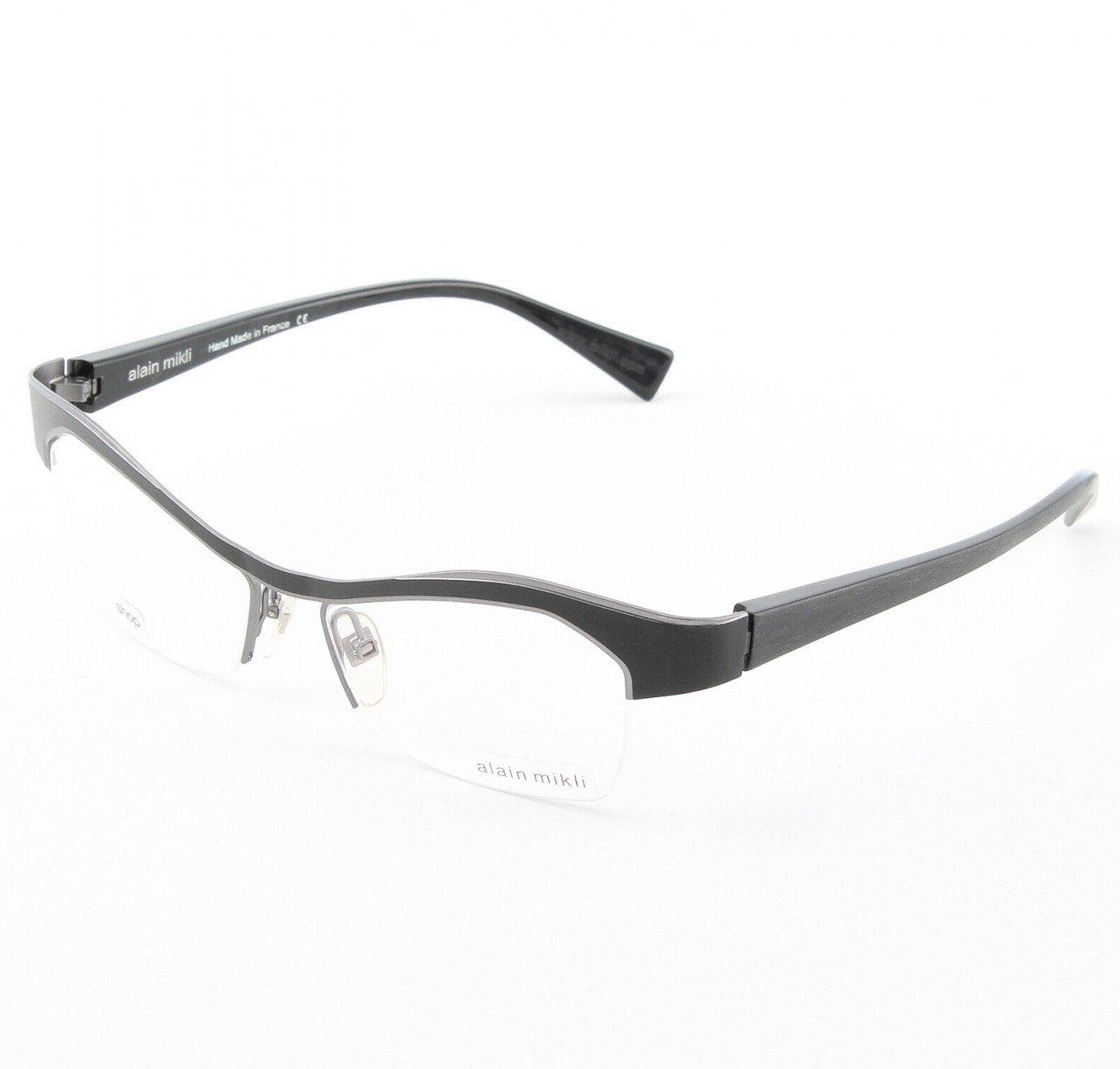 Alain Mikli Eyeglasses AL1053 Col. 1 Matte Black with Silver Trim