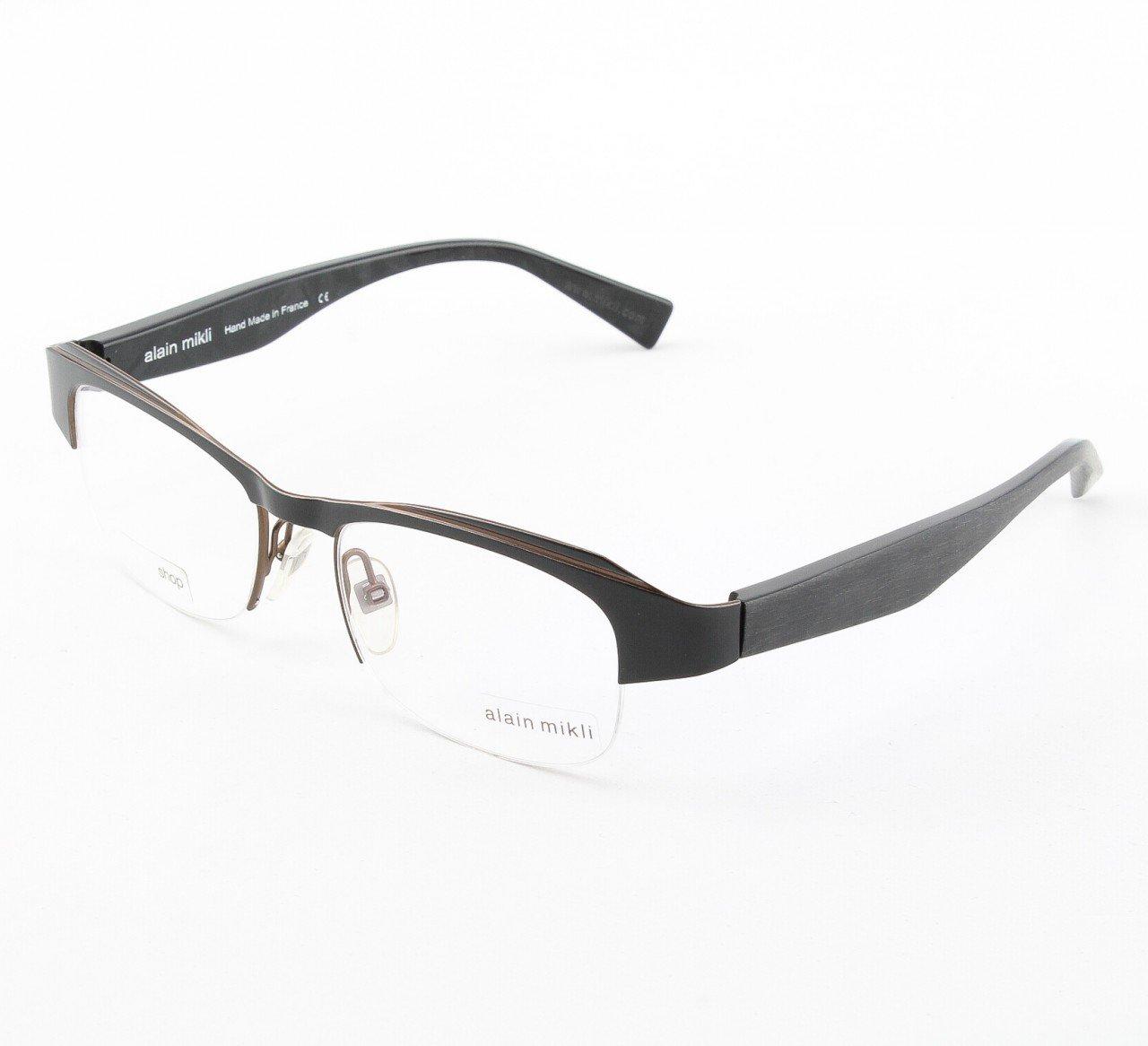 Alain Mikli Eyeglasses AL1041 Col. 1 Black Metal with Copper Accent