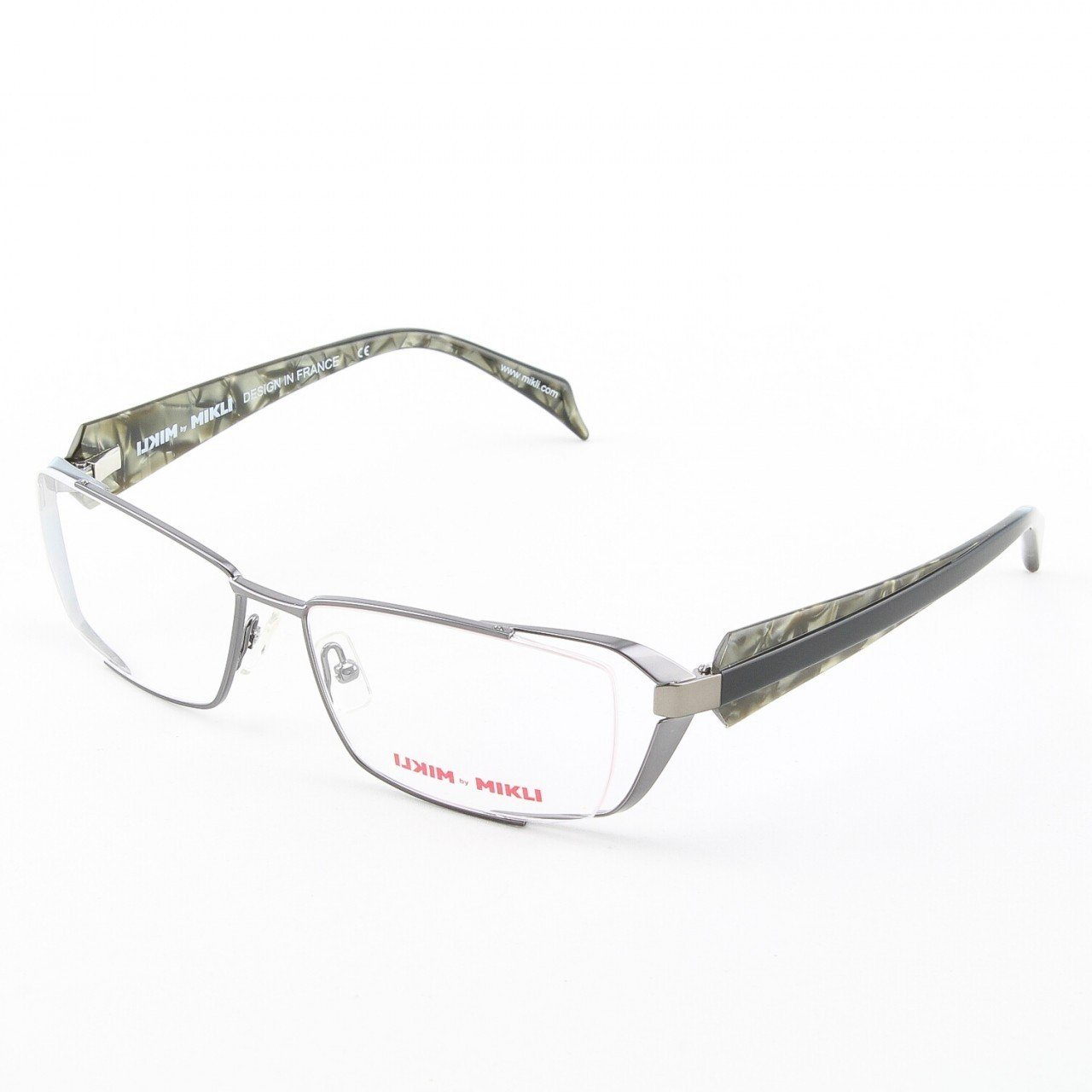 Alain Mikli Eyeglasses ML1039 Col. 3 Contemporary Black and Green Pearlized Temples