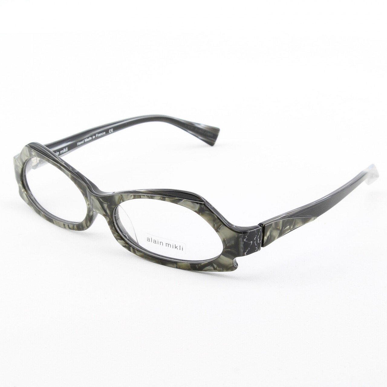 Alain Mikli Eyeglasses AL1019 Col. 4 Marbleized Black and Silver