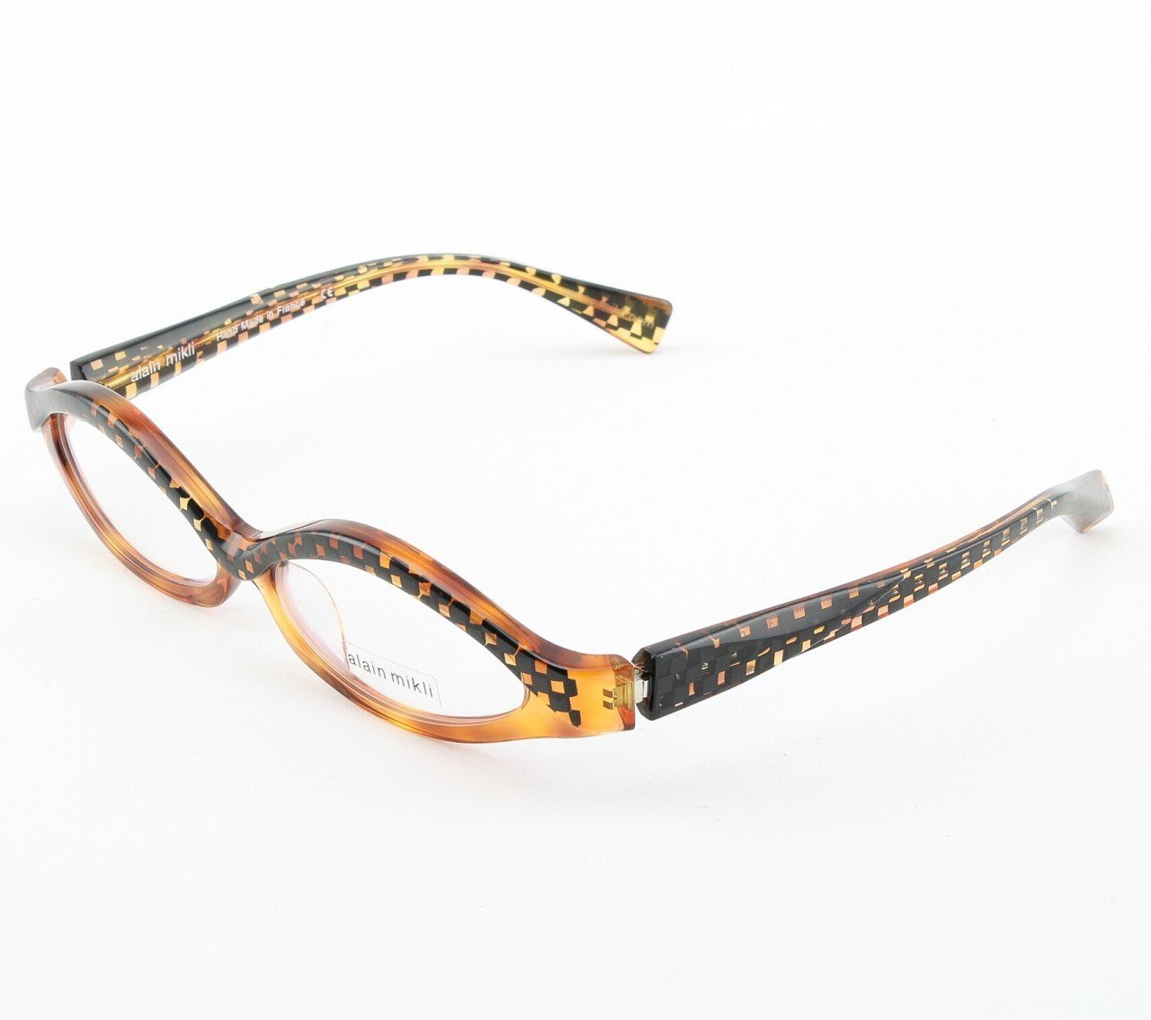 Alain Mikli Eyeglasses AL1018 Col. 2 Tortoise and Black Checkerboard