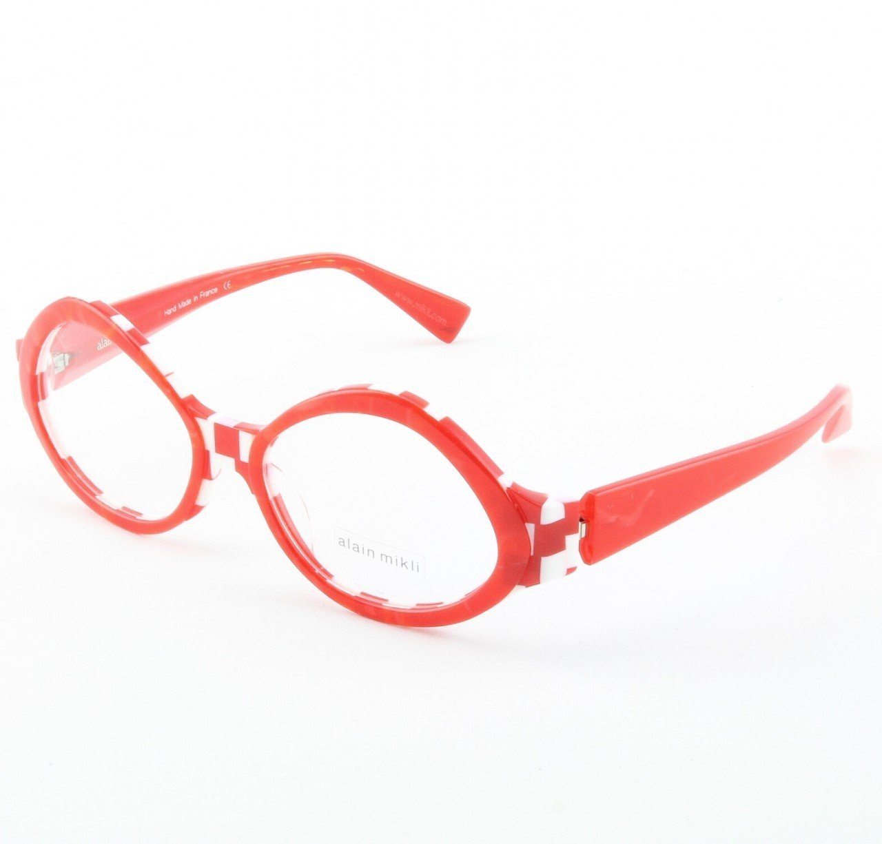 Alain Mikli Eyeglasses AL1014 Col. 2 Red and White Checked