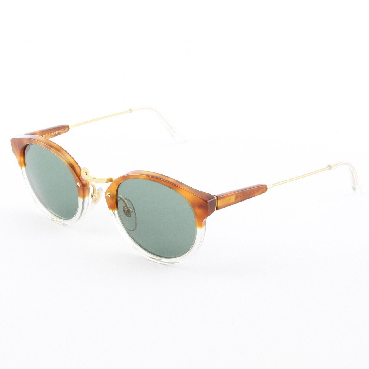 Super Panama 523/2T Sunglasses Havana Crystal with Green Zeiss Lenses by RETROSUPERFUTURE