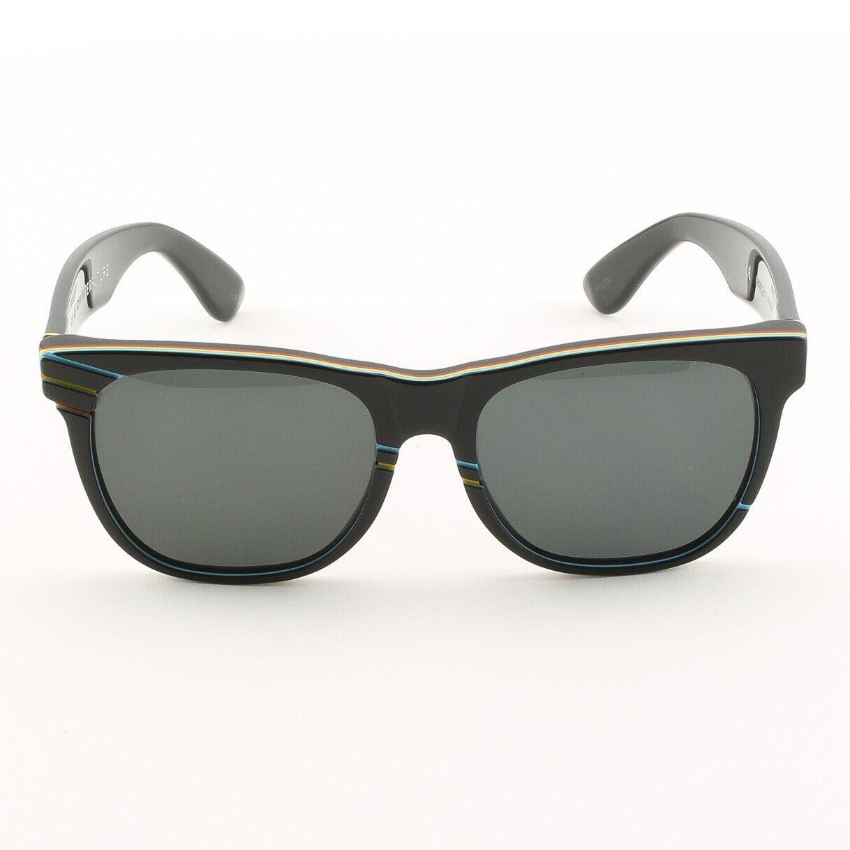 Super Classic 145 Wayfarer Sunglasses Black with Yellow Blue and Red Stripes by RETROSUPERFUTURE