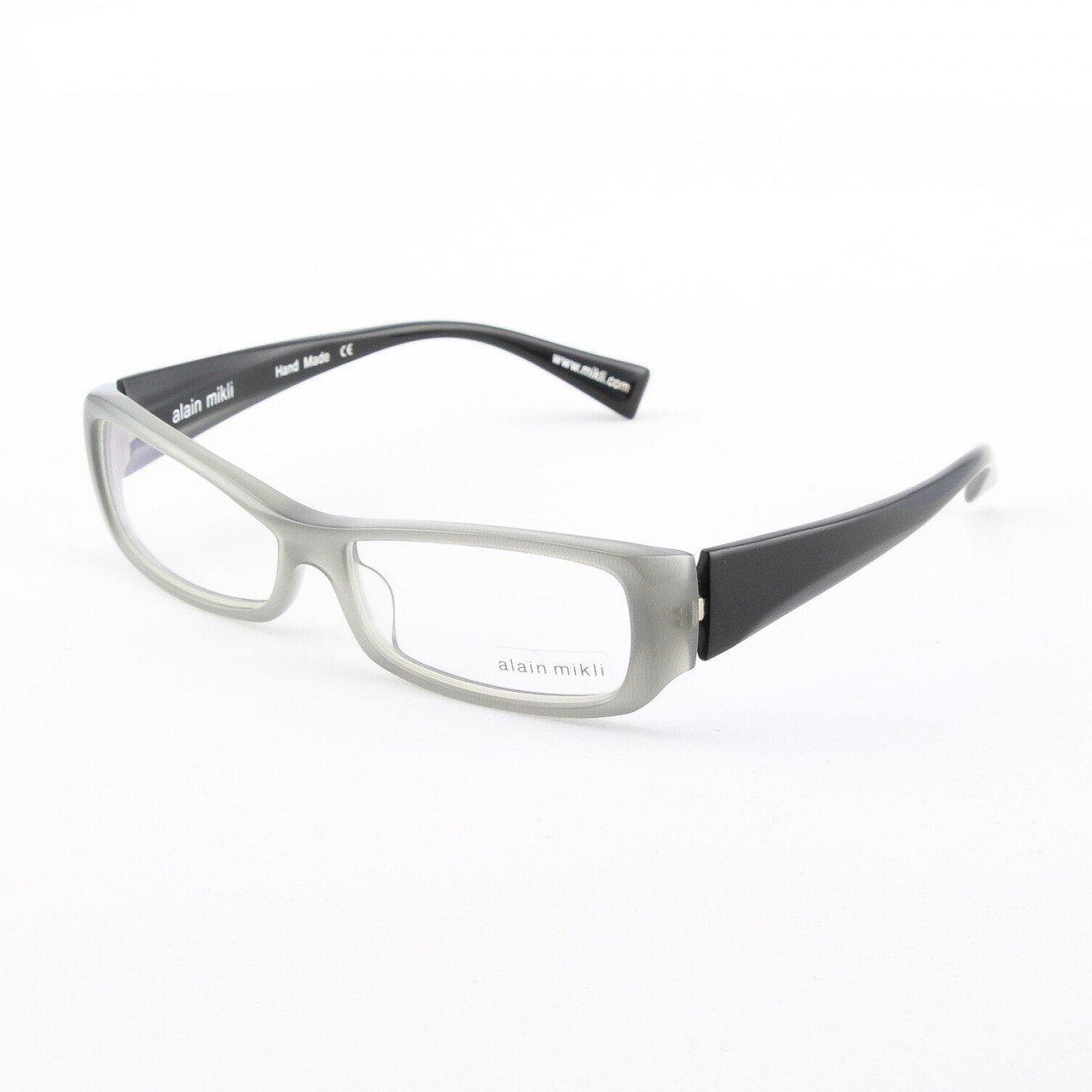 Alain Mikli Eyeglasses AL0793 Col. 12 Light Gray Translucent Frame with High Gloss Black Temples