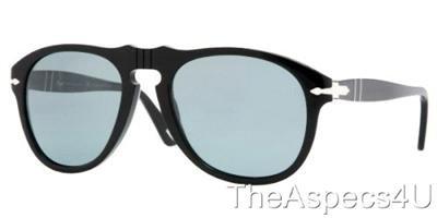 Persol PO0649 95/4N 52 Sunglasses Black w/ Blue Photo Polar Lenses Authentic 649