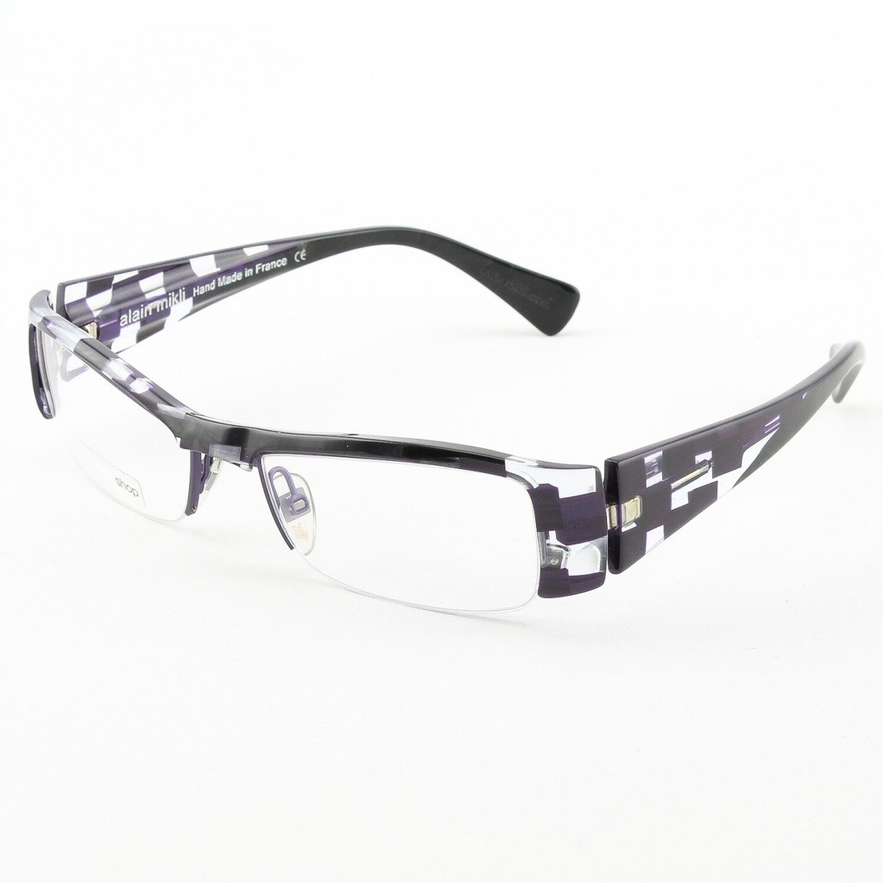 Alain Mikli Eyeglasses AL0757 Col. 98 Deep Purple and Clear with Purple and Clear Temples