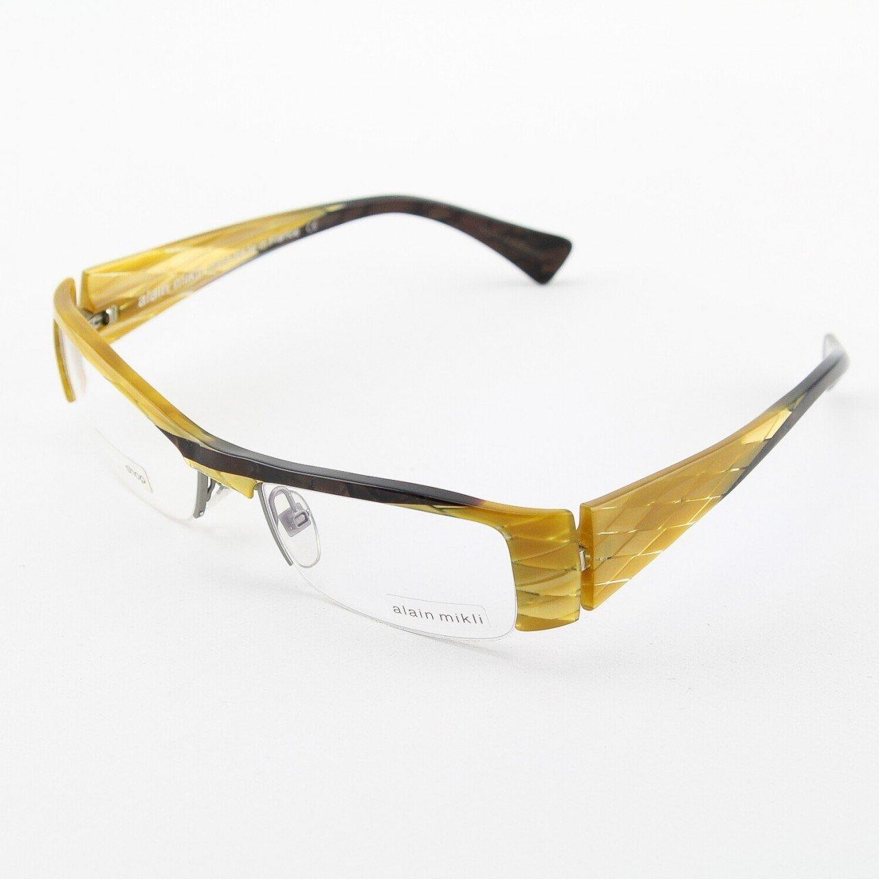 Alain Mikli Eyeglasses AL0757 Col. 21 Black and Gold Geometric